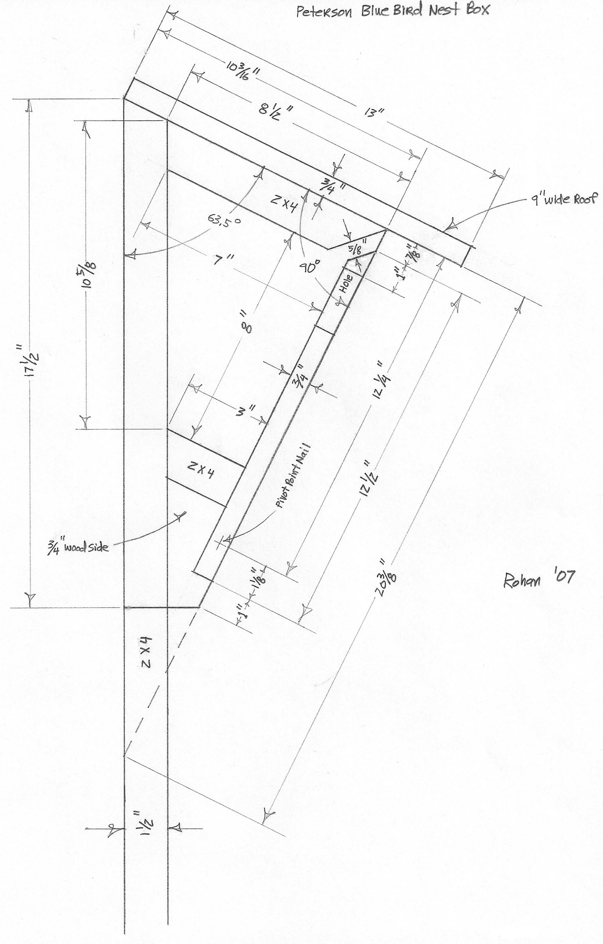 Blue Bird House Plans Best Of Peterson Bluebird Nest Box Plans Incorporate 2x4 Of Any