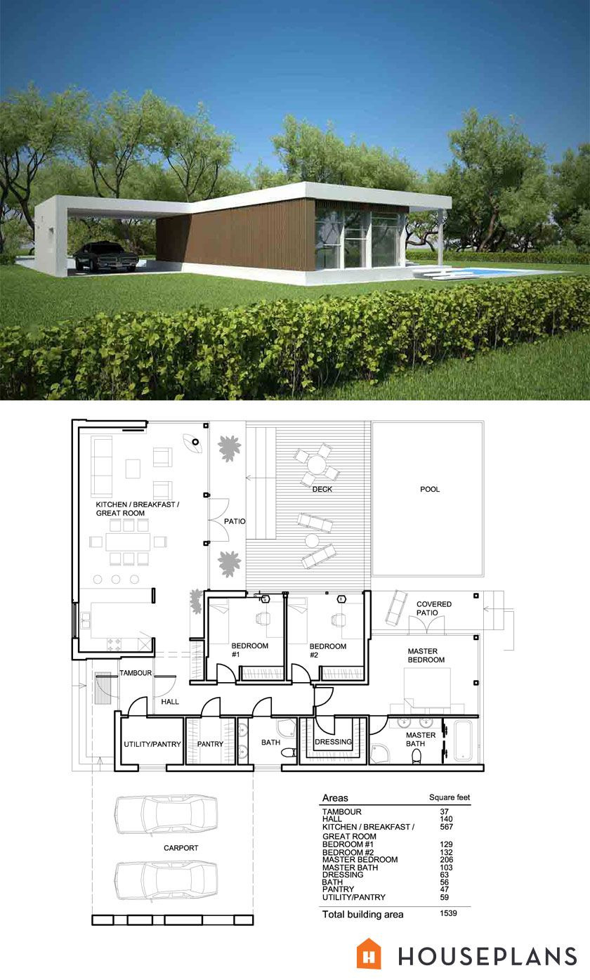Contemporary Modern Home Plans Lovely Modern Style House Plan 3 Beds 2 Baths 1539 Sq Ft Plan