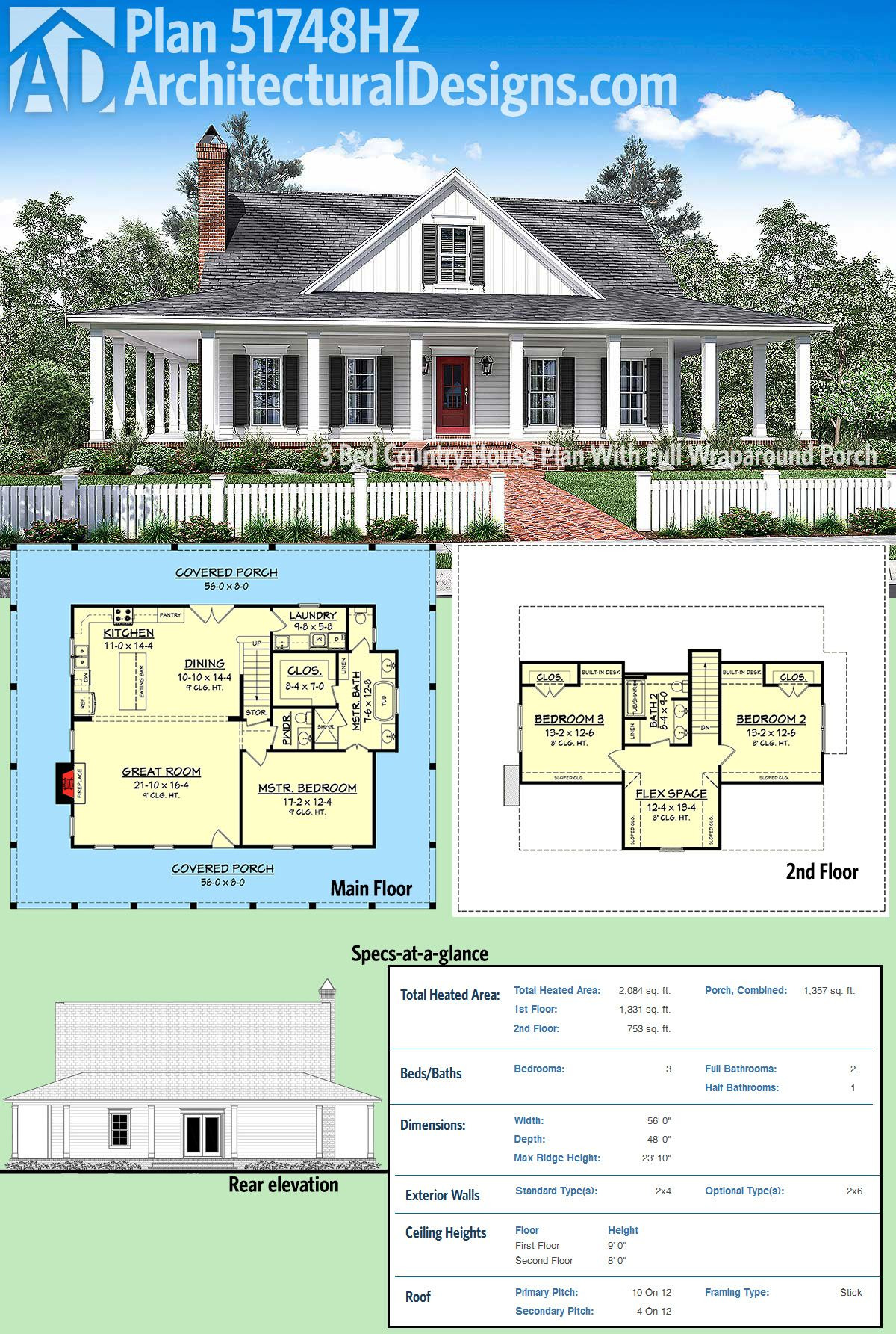 Country House Plans with Porches Best Of Plan Hz 3 Bed Country House Plan with Full Wraparound