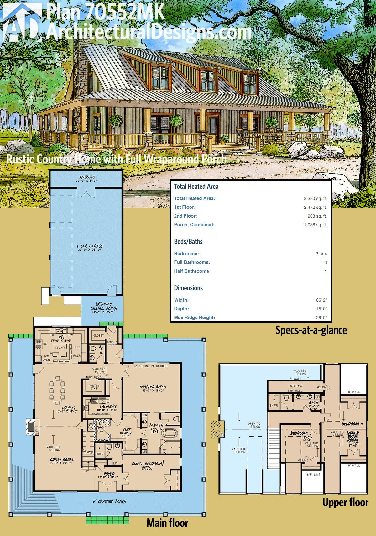 Country House Plans with Porches Luxury Plan Mk Rustic Country Home Plan with Wraparound Porch