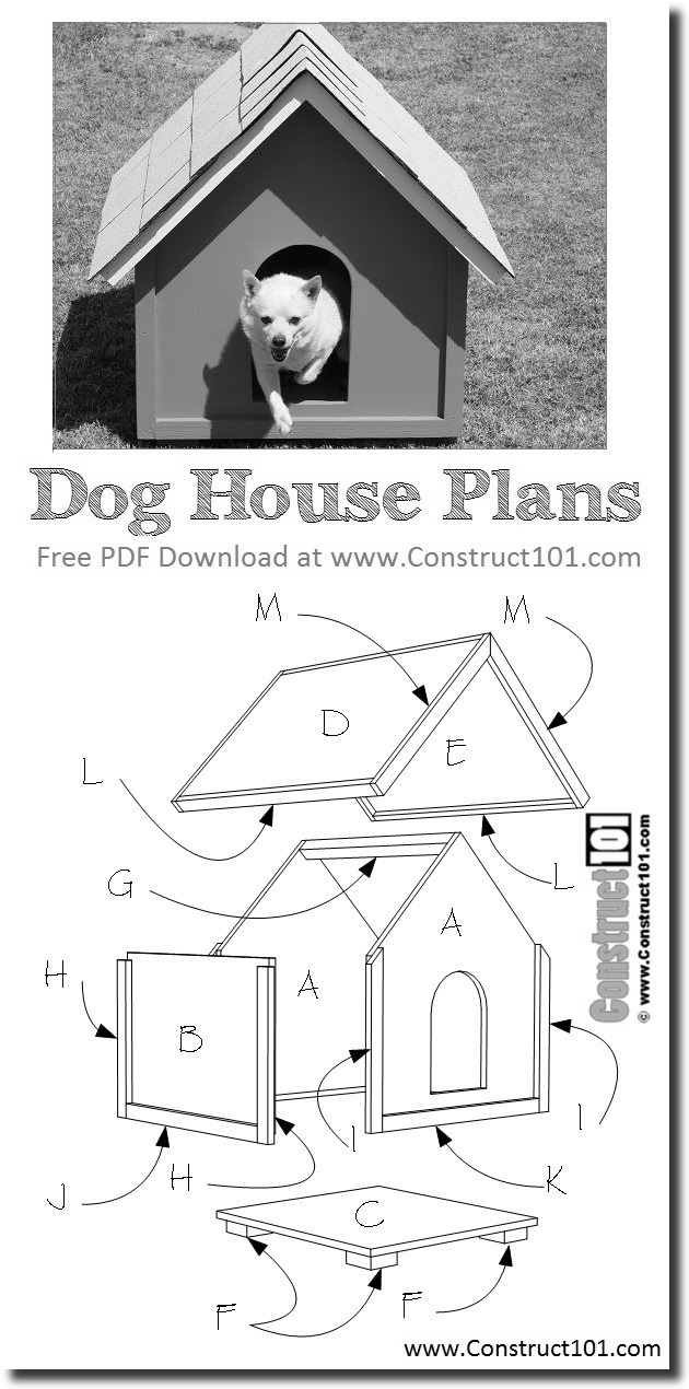 dog house plans diy project bw