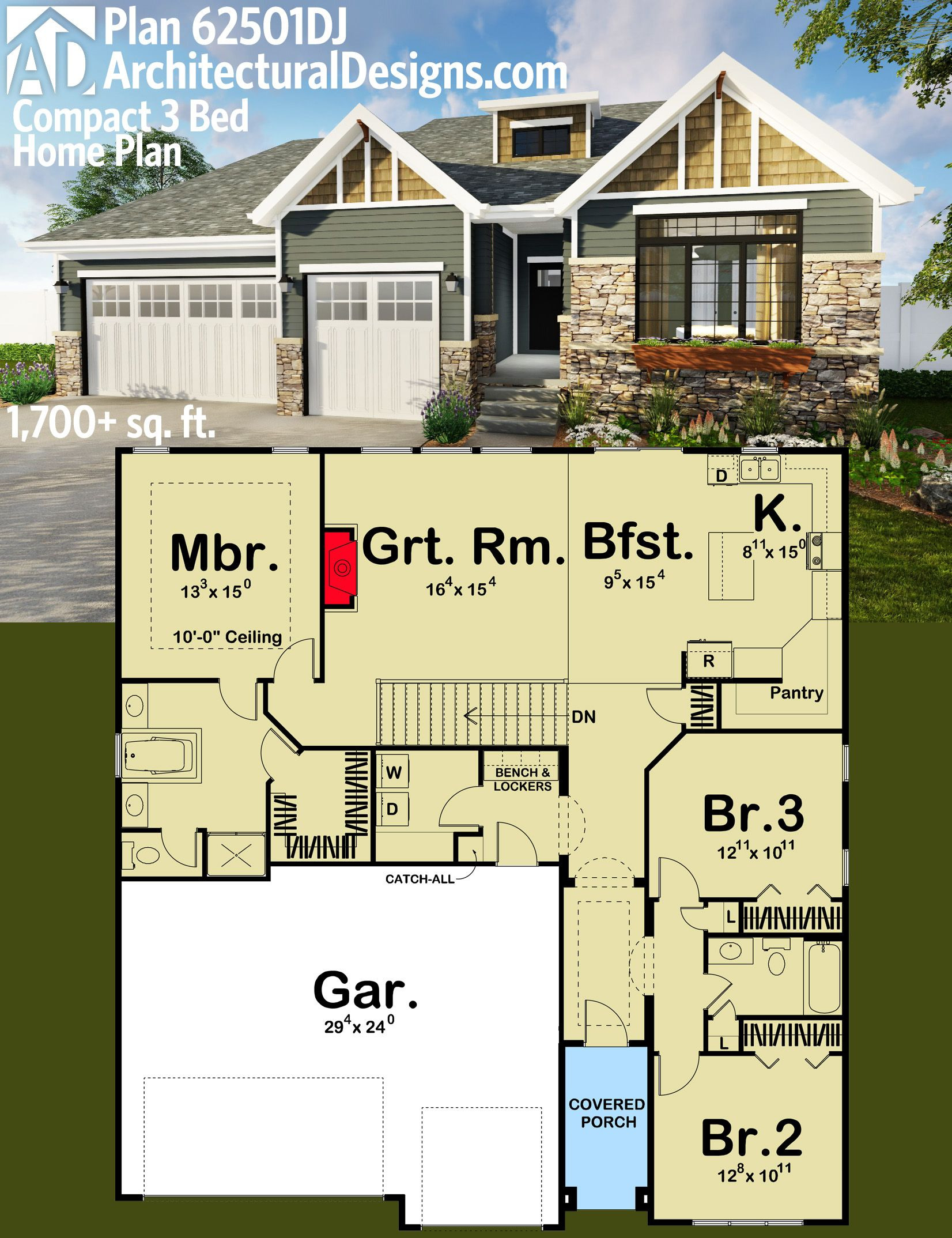 Easy to Build House Plans Lovely Architectural Designs Pact 3 Bed House Plan Dj Easy