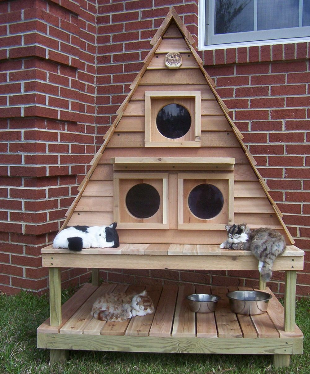 Feral Cat House Plans Awesome Outdoor Cat House for 3 6 Cats Customizable Free