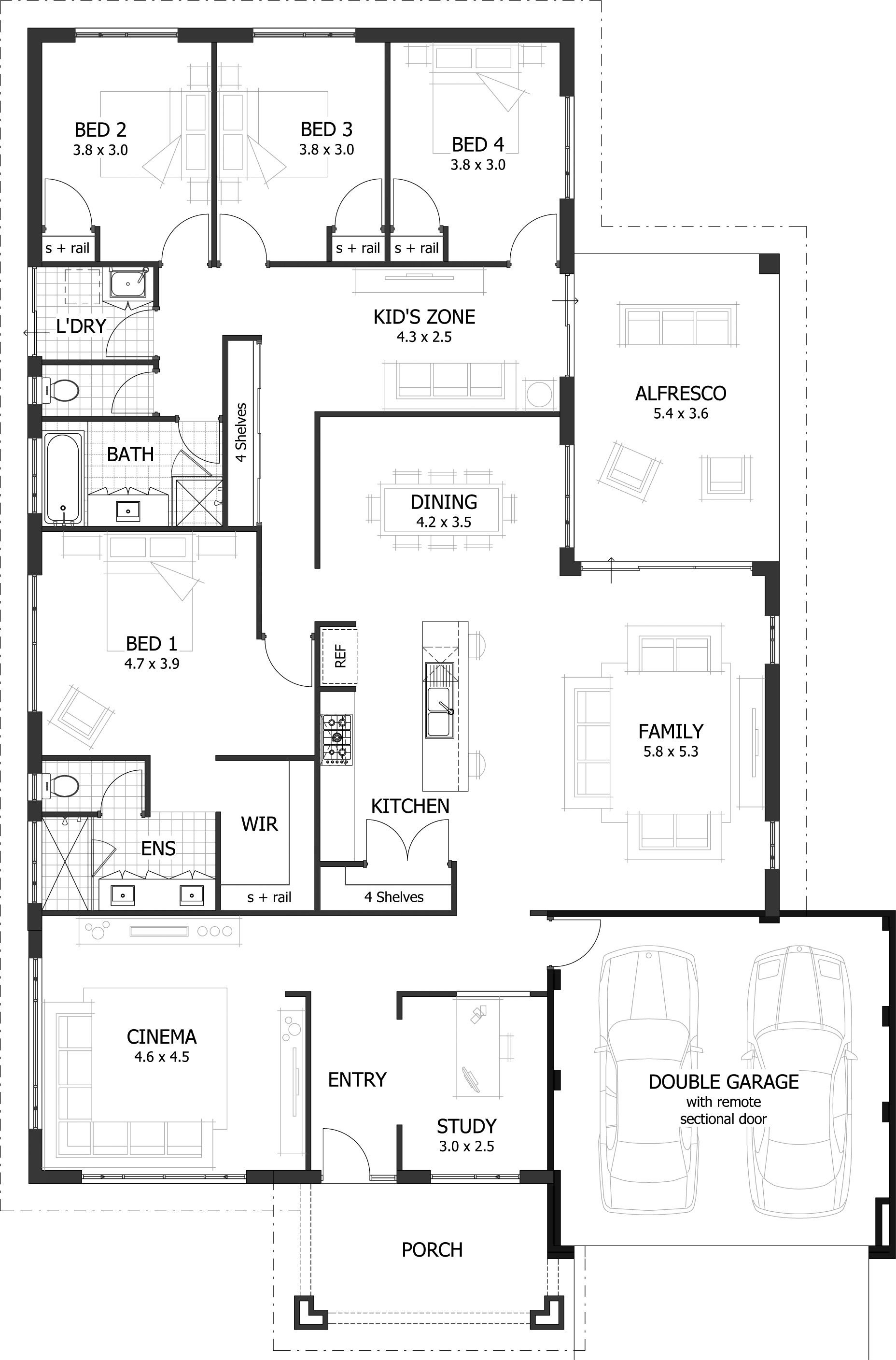 Four Bedroom House Plan Lovely 4 Bedroom House Plans & Home Designs