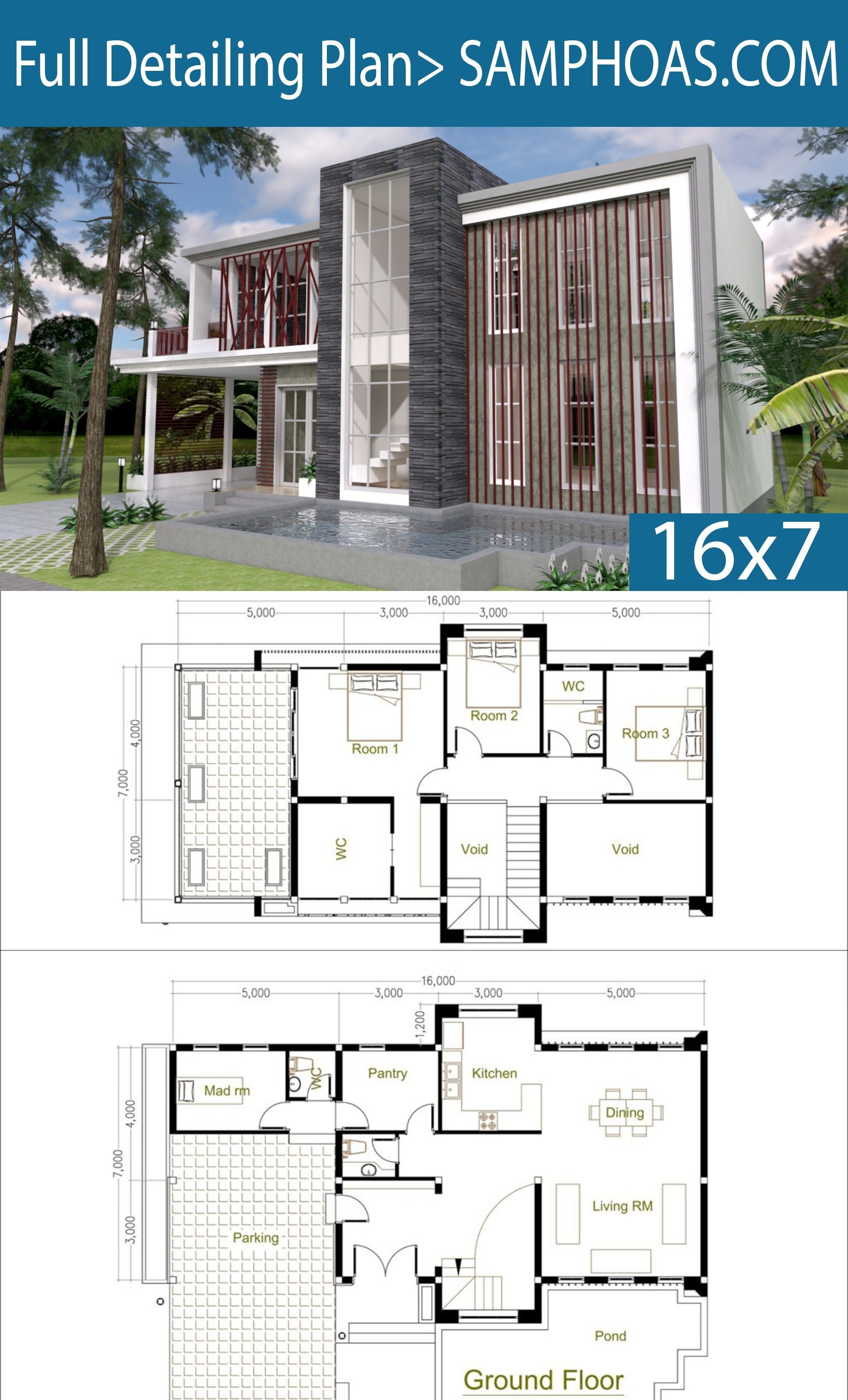 Free Modern House Plans Awesome 3 Bedrooms Modern Home Plan 7x16m