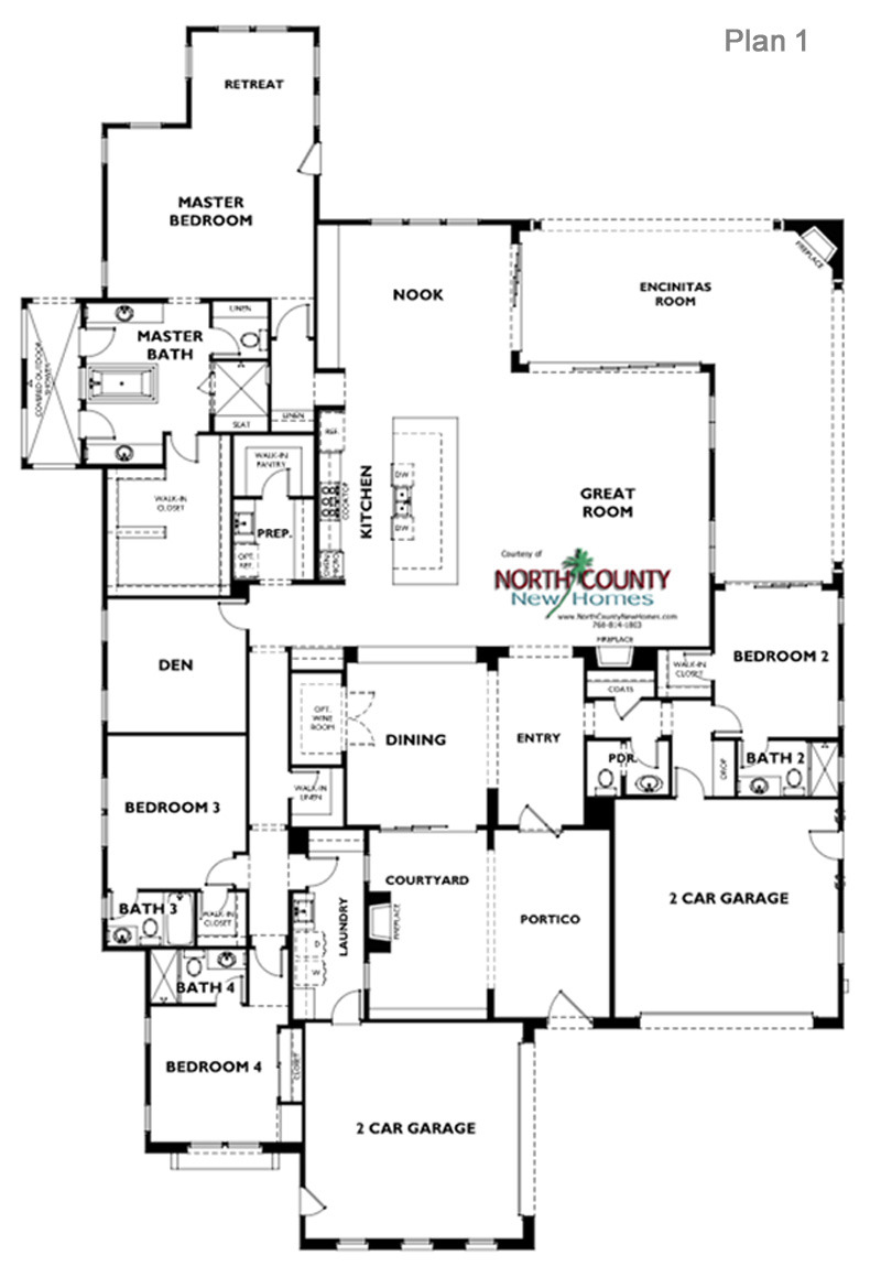e Oak Floor Plan 1 Encinitas new homes
