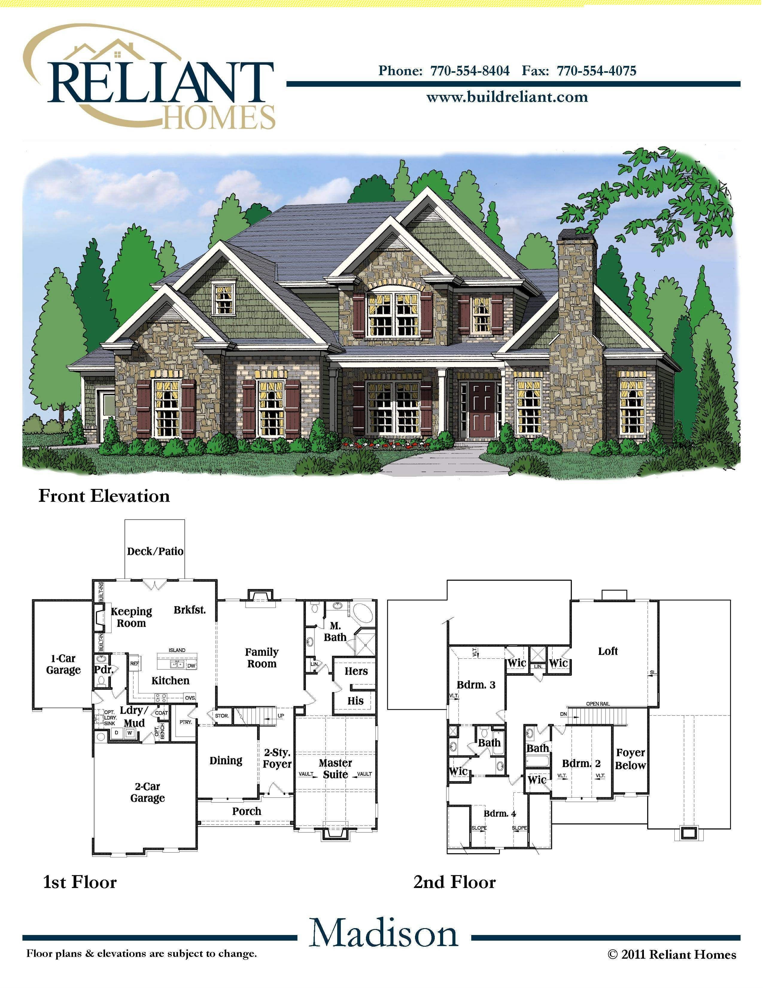 House Plans for Sale New Reliant Homes the Madison Plan Floor Plans
