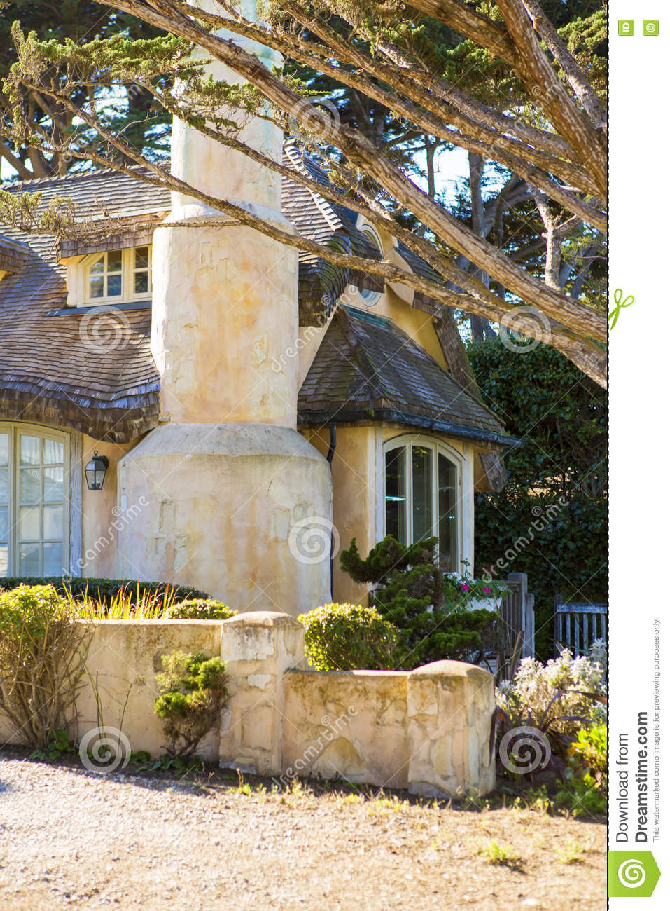 House with Big Windows New View the Big Stone House with Windows Stock Image