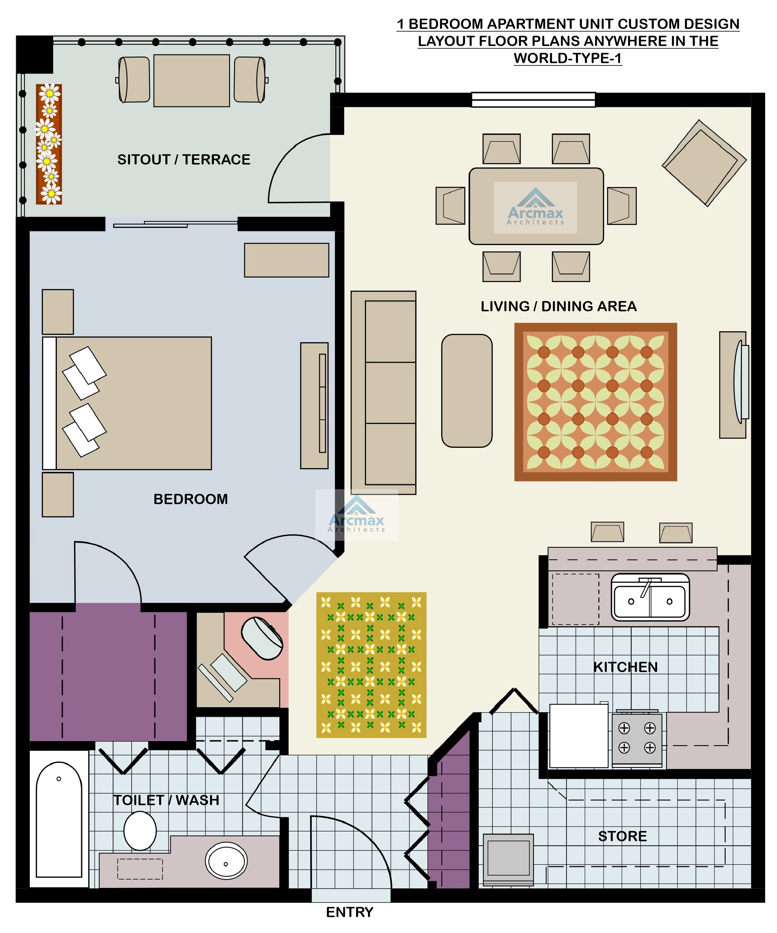 1 bedroom apartment unit custom design layout floor plans anywhere in the world type 1