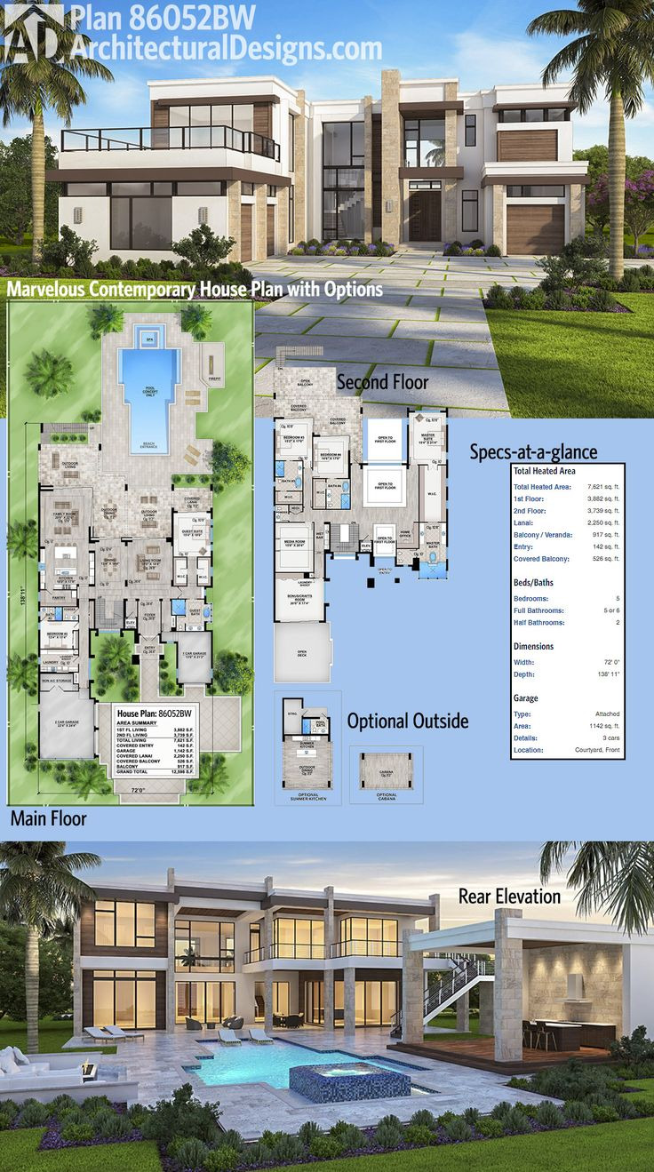 modern house plans check out that deck over the garage in architectural designs luxury house plan 8