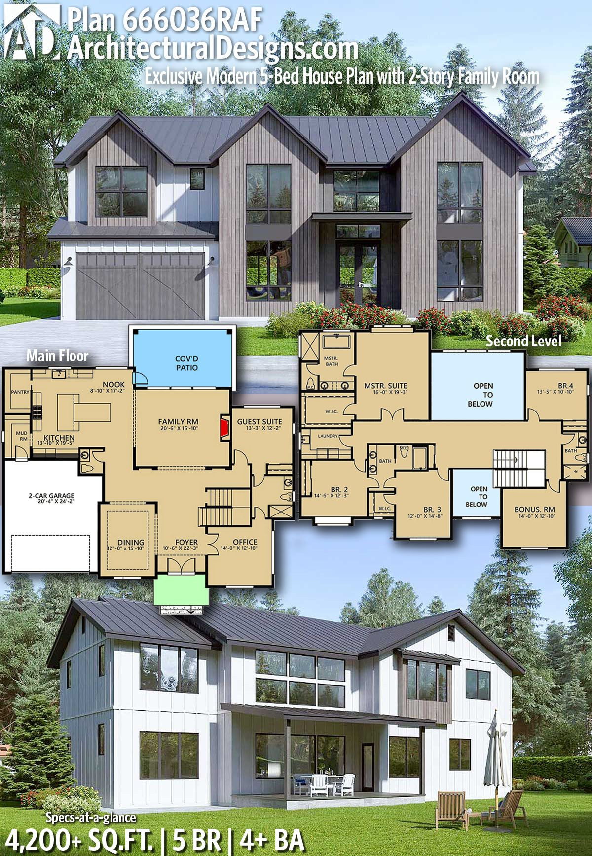 Modern 2 Story House Best Of Plan Raf Modern 5 Bed House Plan with 2 Story Foyer