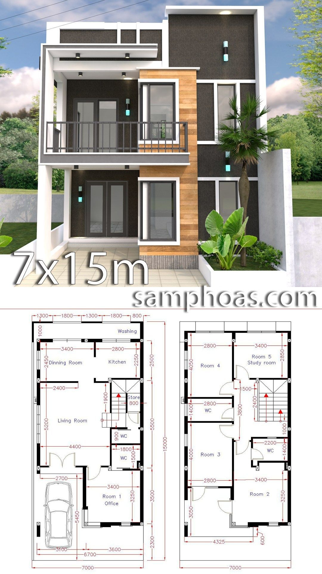 Modern Home Design Plans Awesome Home Design Plan 7x15m with 5 Bedrooms Samphoas Plansearch