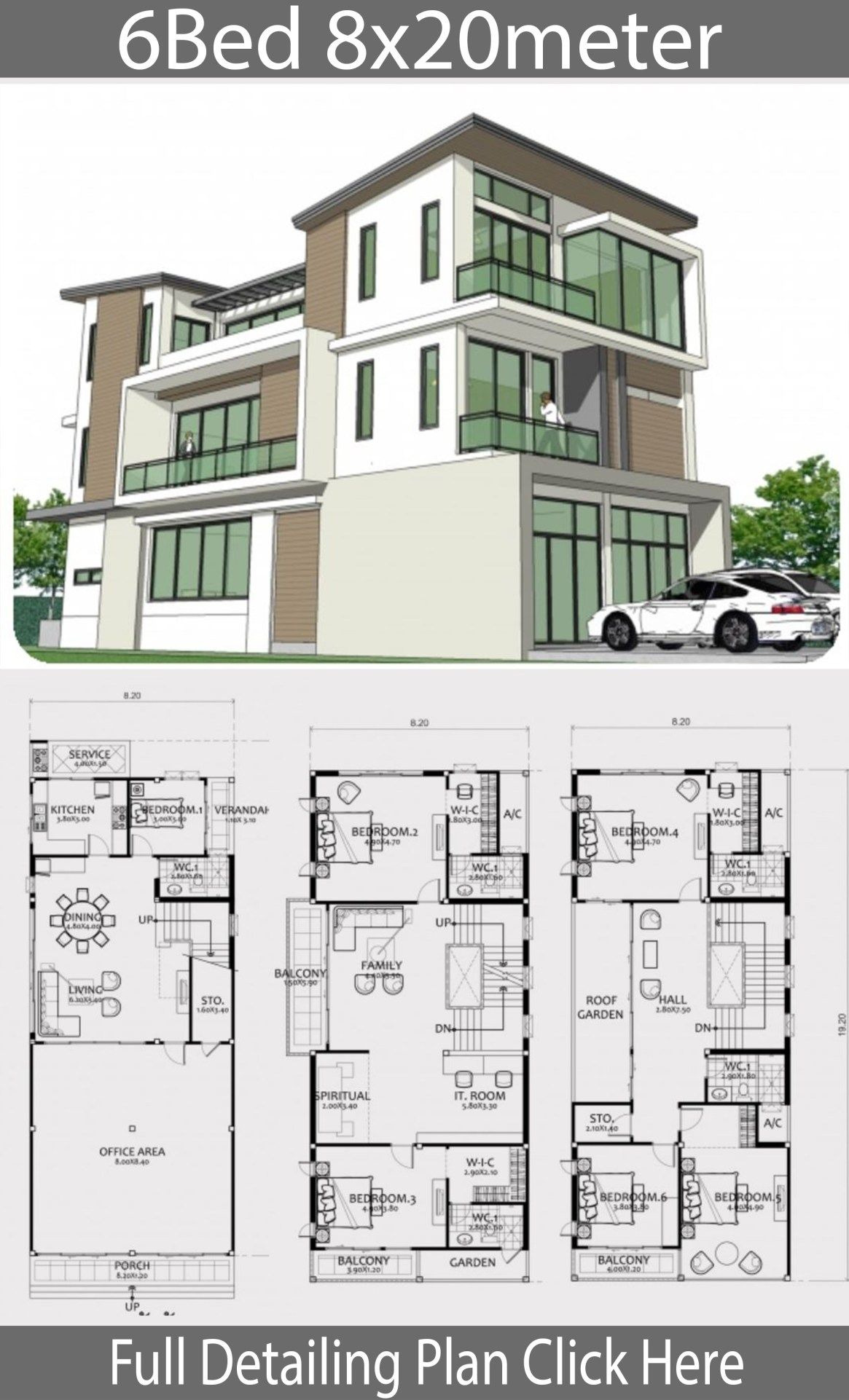 Modern House Designs and Floor Plans Best Of Home Design Plan 8x20m with 6 Bedrooms
