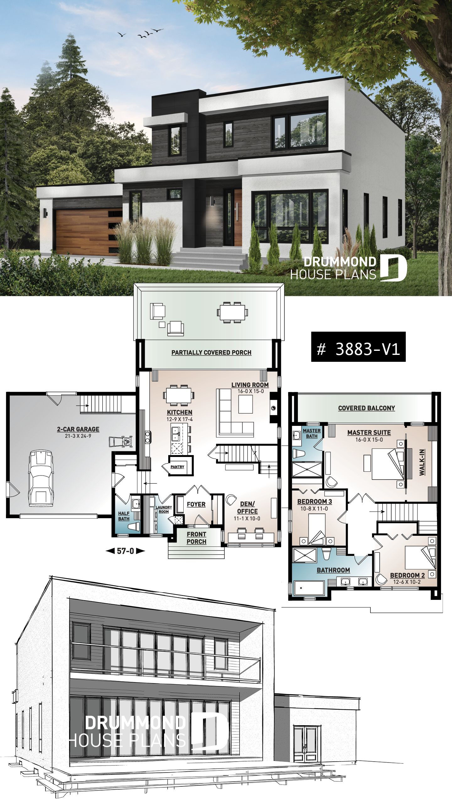 Modern House Plans with Pictures Luxury House Plan Es 2 No 3883 V1