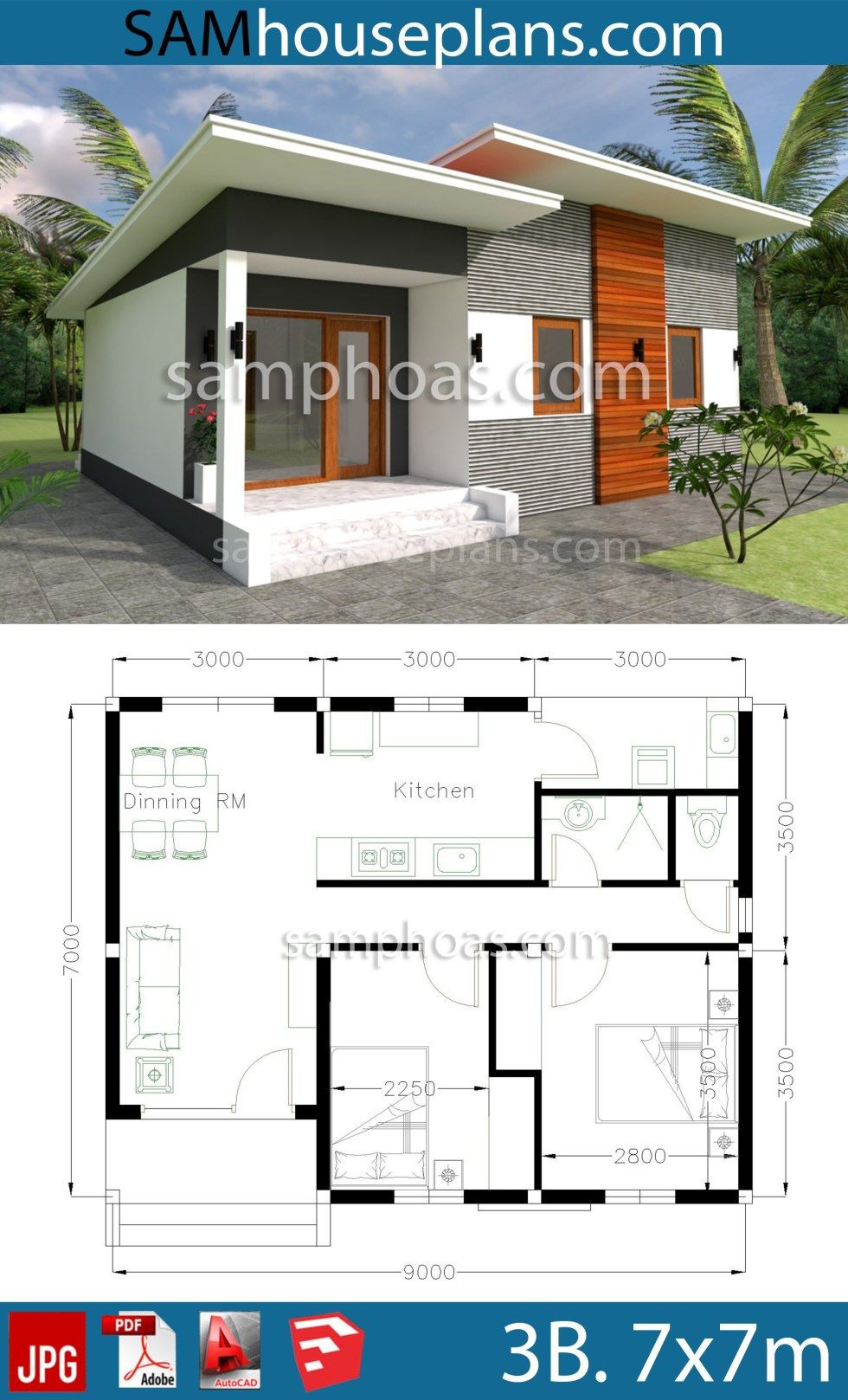 Modern Small House Plans Beautiful House Plans 9x7m with 2 Bedrooms