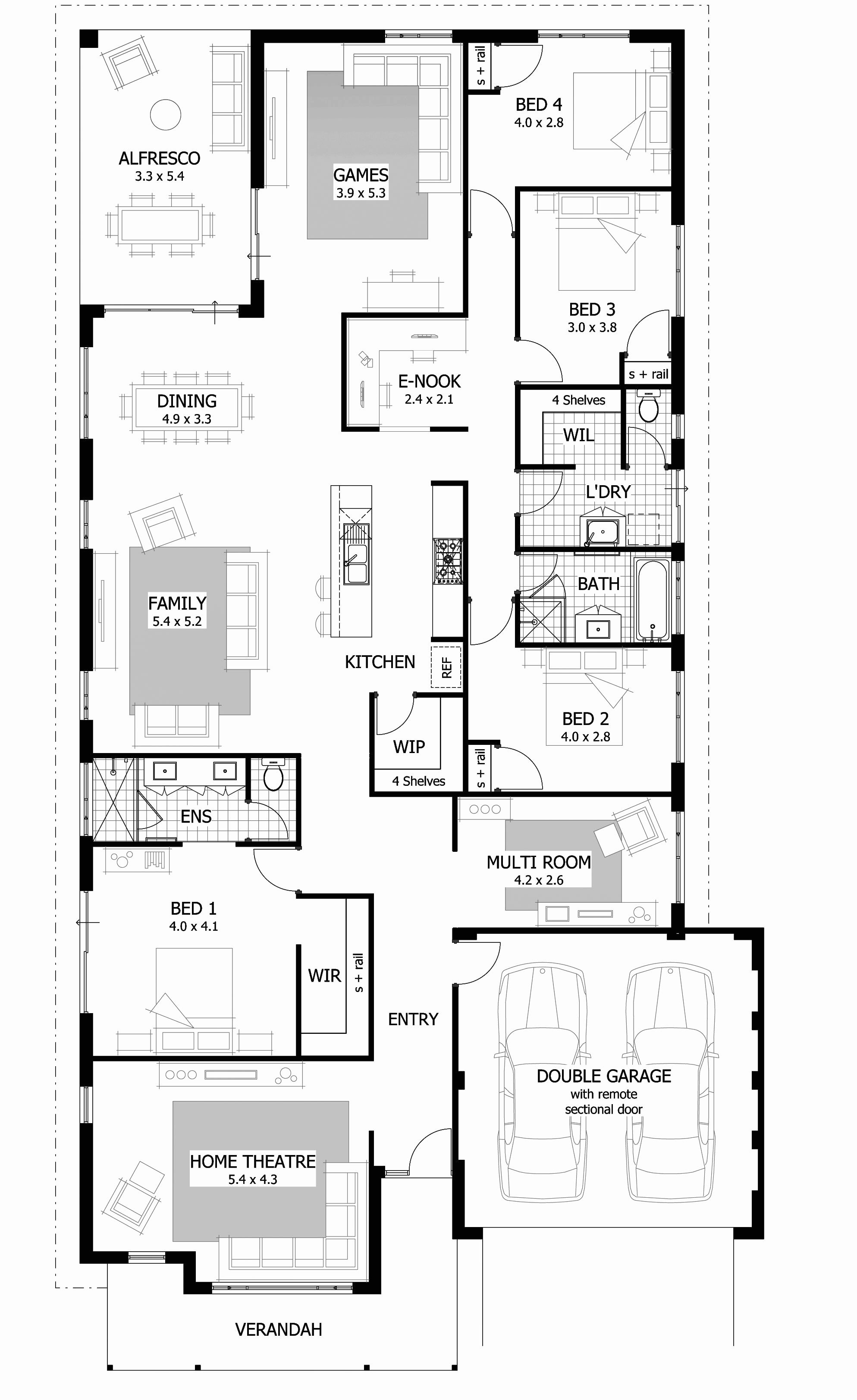 One Story House Plans Awesome Modern 1 Story House Plans Luxury Three Bedroom Floor Plans