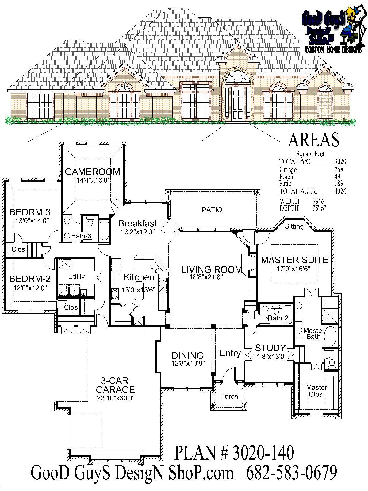 One Story House Plans Lovely Stock House Plan One Story Plan 3020 Sq Ft 3 Bedrooms 3