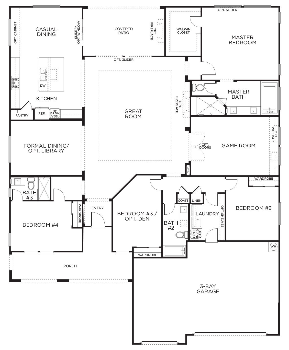 One Story House Plans Luxury Love This Layout with Extra Rooms Single Story Floor Plans