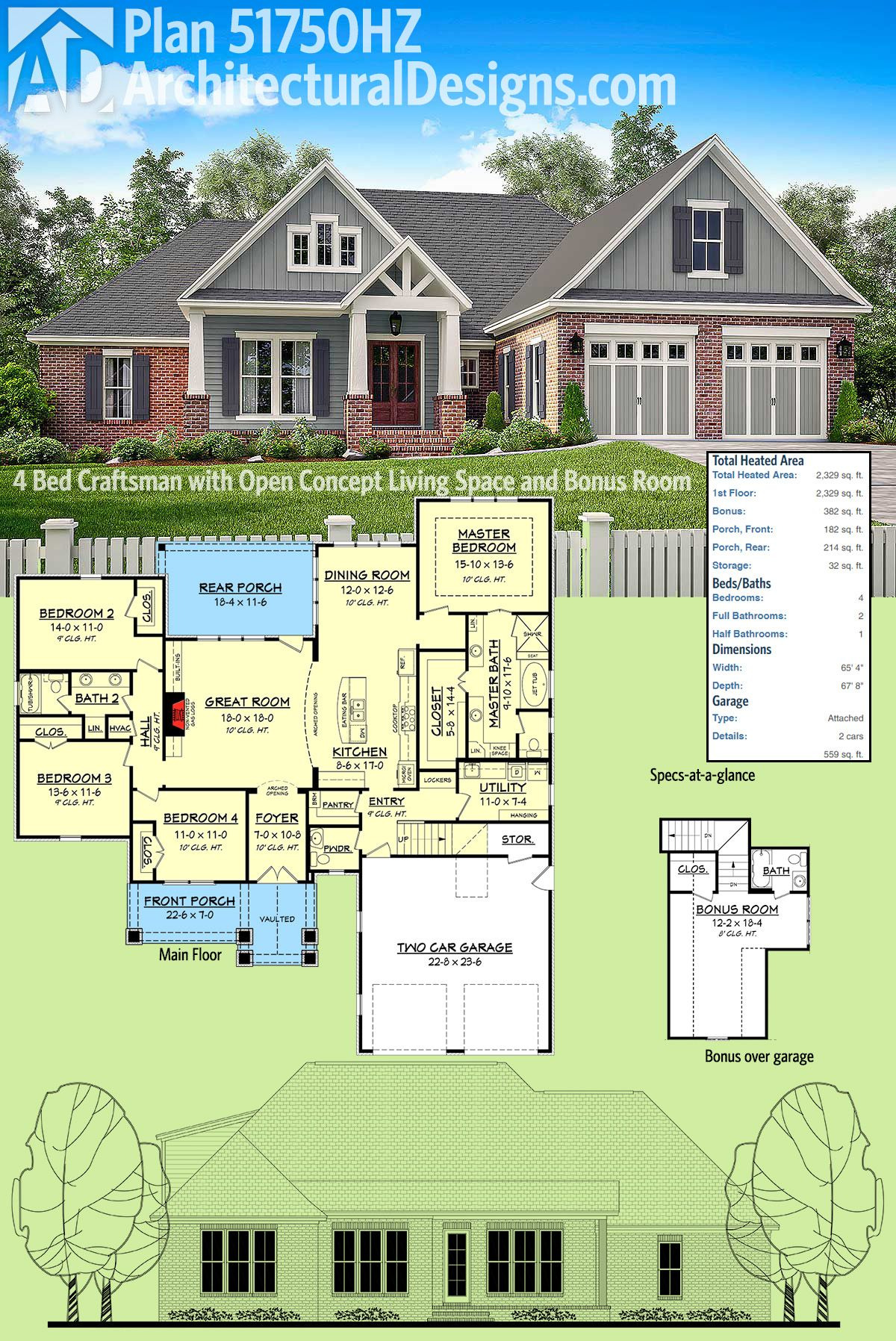 Open Concept Home Plans Beautiful Plan Hz 4 Bed Craftsman with Open Concept Living Space
