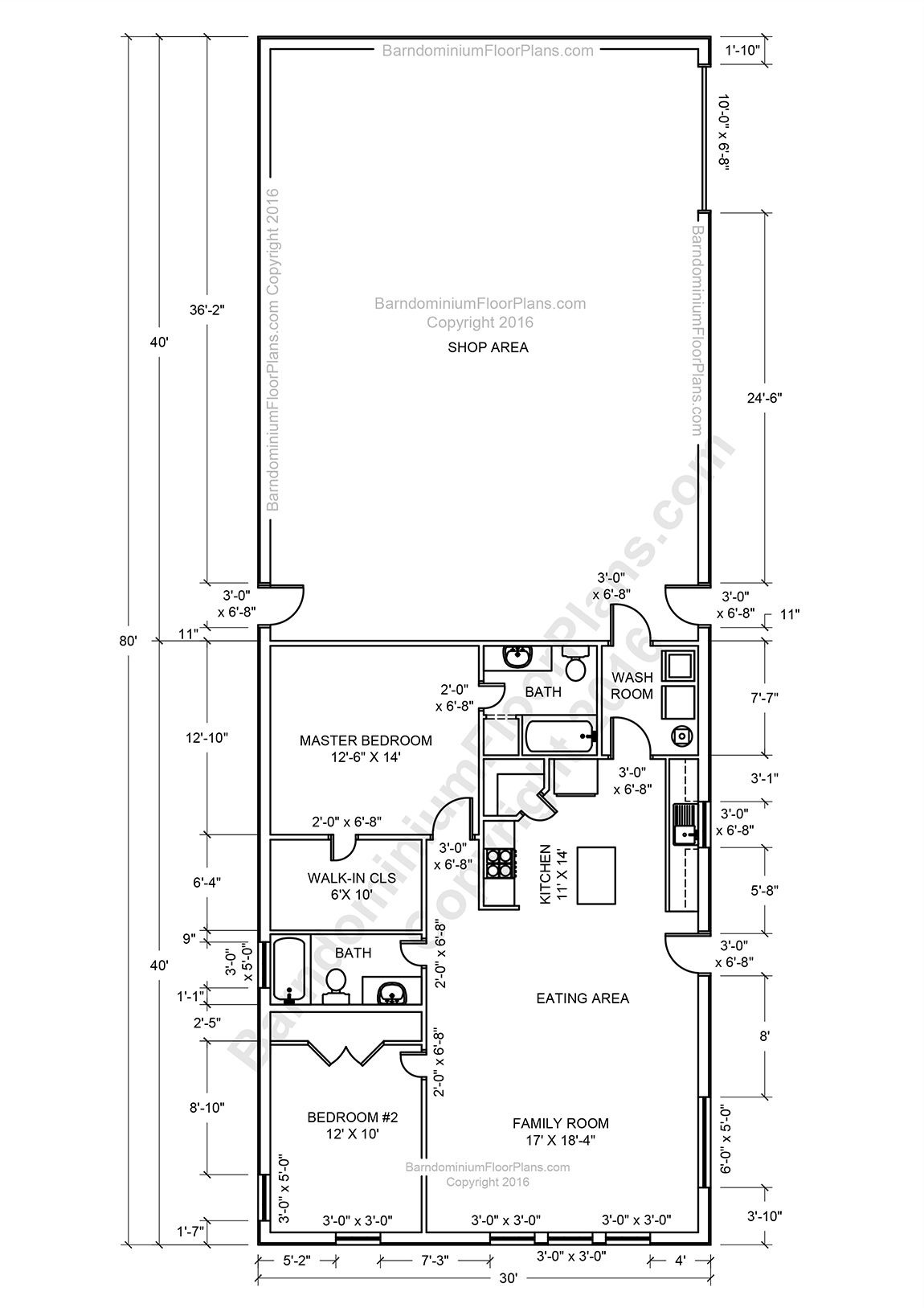 Pole Barn House Plans and Prices New 2 Bedroom 2 Bath Barndominium Floor Plan for 30 Foot Wide