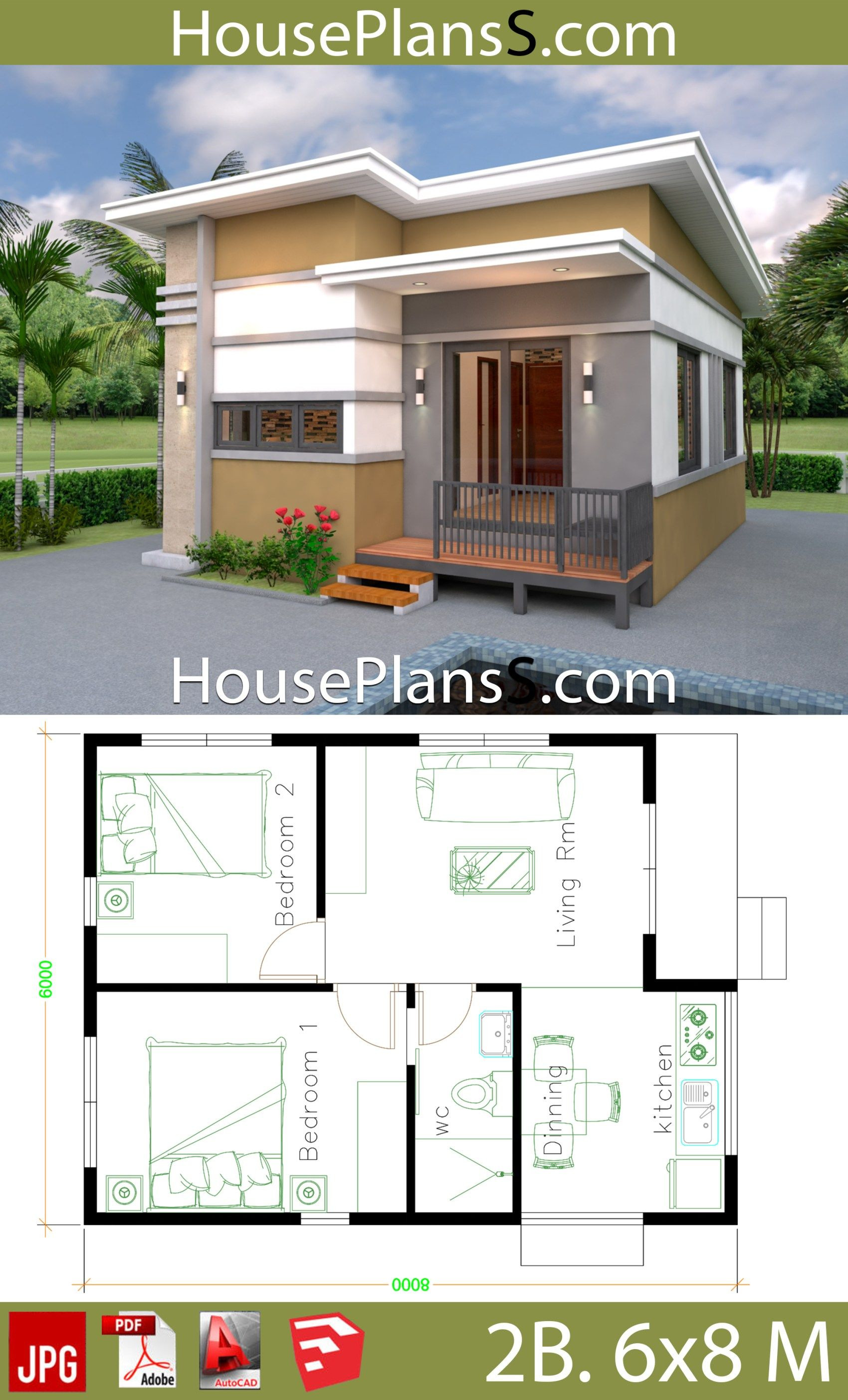 Simple 2 Bedroom House Plans Best Of Small House Design Plans 6x8 with 2 Bedrooms