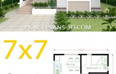 Simple 2 Bedroom House Plans New Small House Design 7x7 With 2 Bedrooms Dengan Gambar