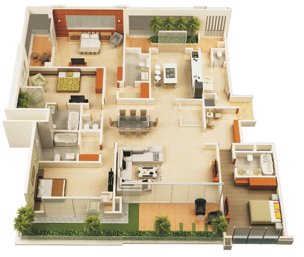 small 4 bedroom house plans and designs
