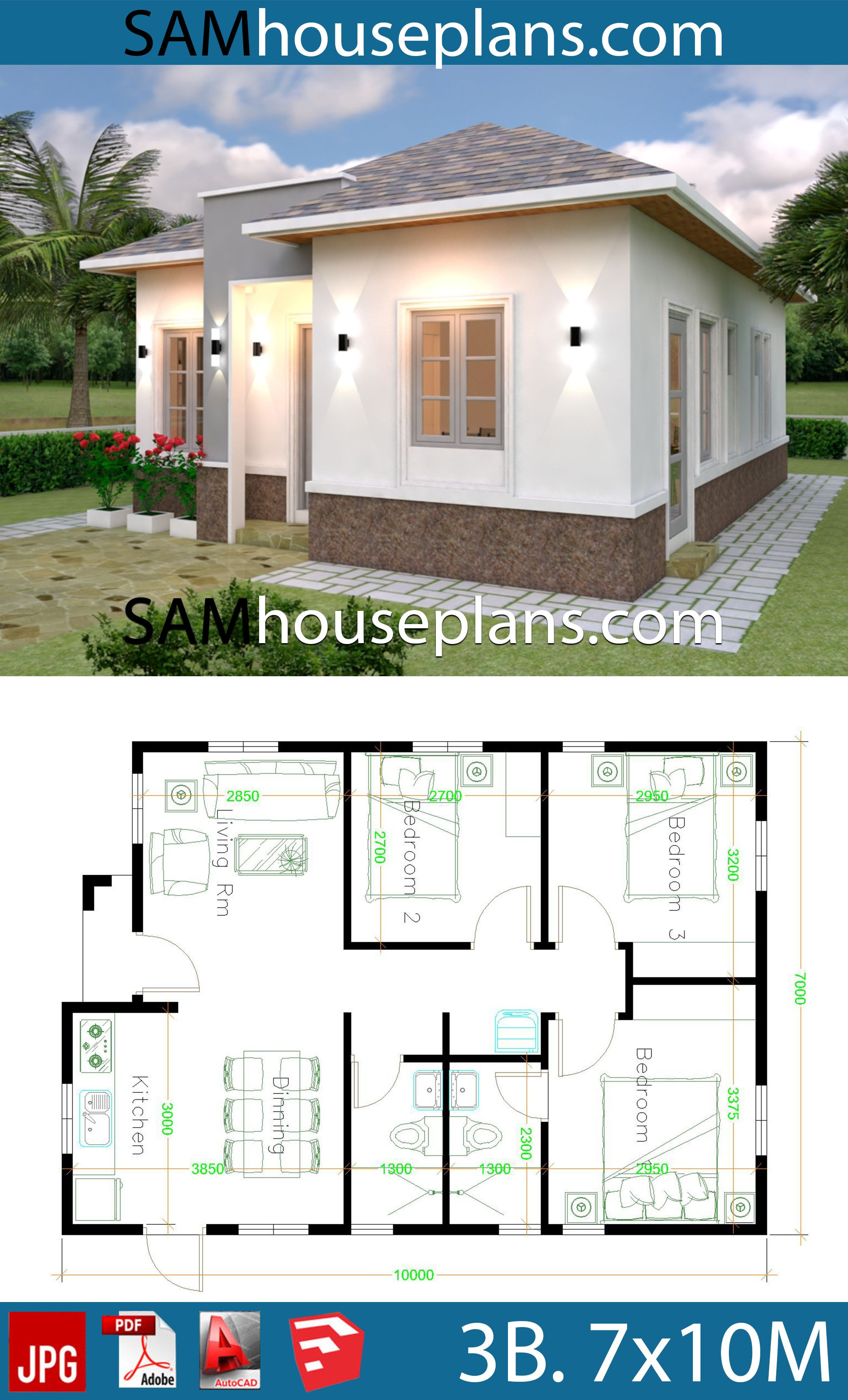 Simple House Plans Free Beautiful House Plans 7x10 with 3 Bedrooms In 2020