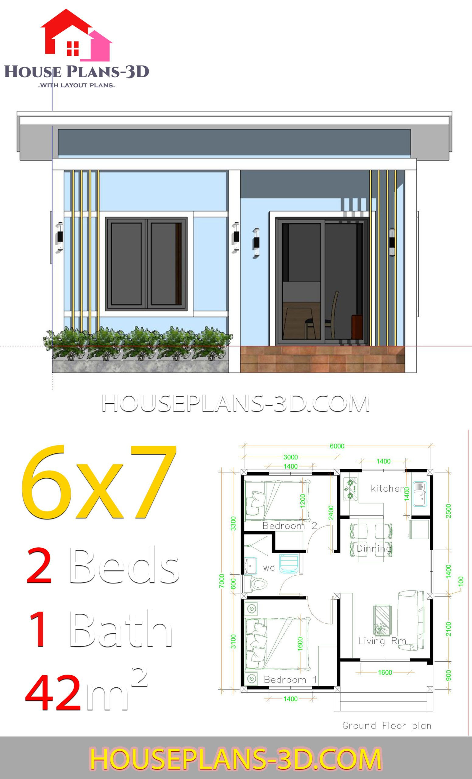 Simple House Plans Free Unique Simple House Plans 6x7 with 2 Bedrooms Shed Roof House