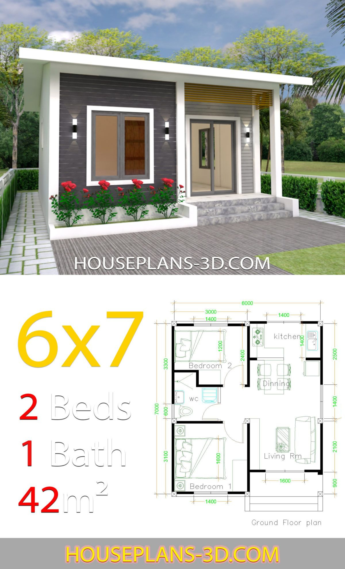 Simple Small House Design Beautiful House Design 6x7 with 2 Bedrooms In 2020