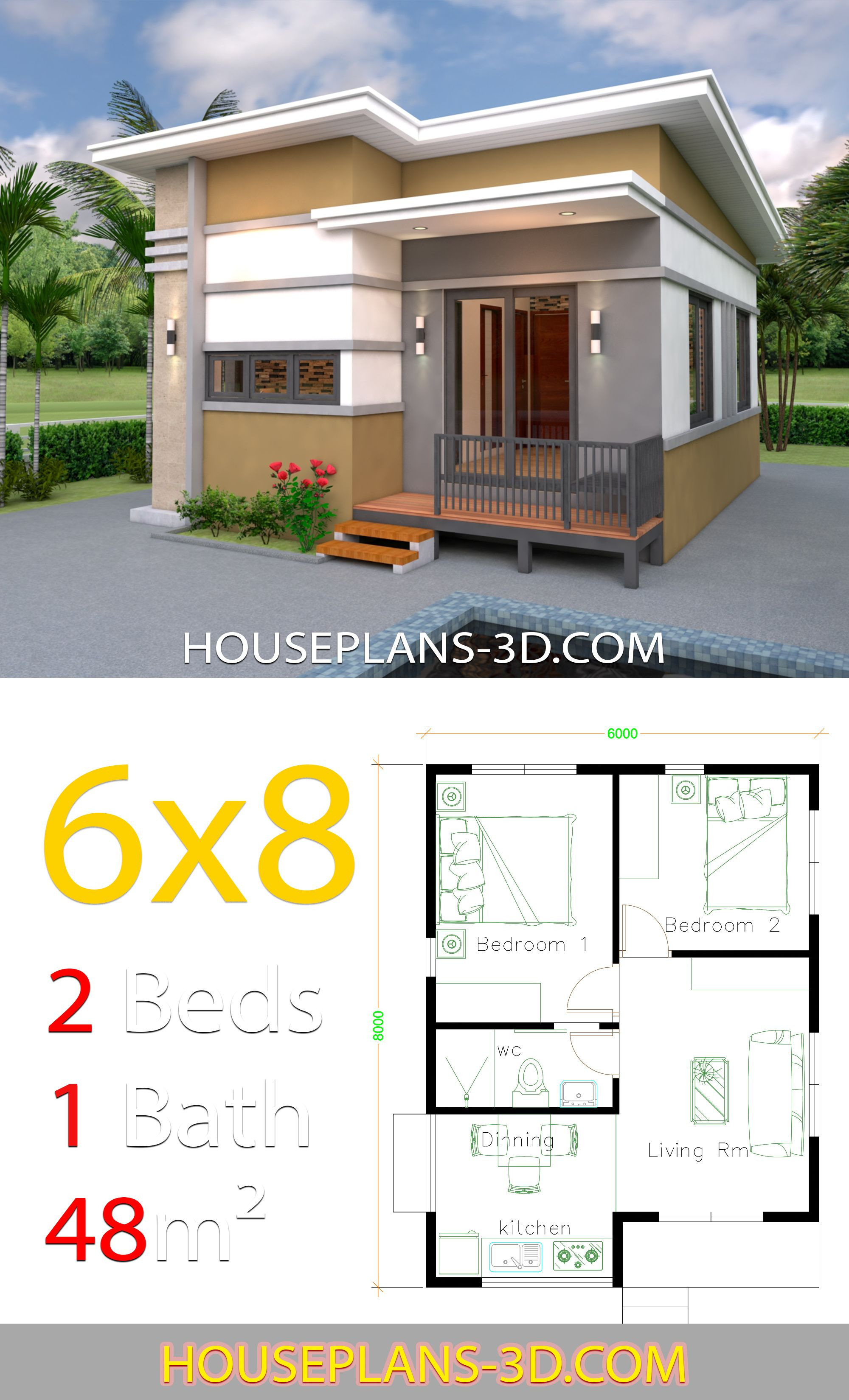 Small 2 Bedroom House Plans Unique House Design 6x8 with 2 Bedrooms House Plans 3d