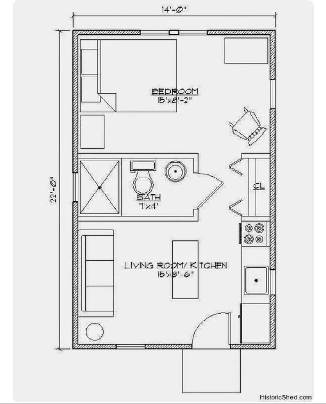 Small Guest House Plans Unique Small House 14x22 1 Bedroom Ecohouselayout with Images