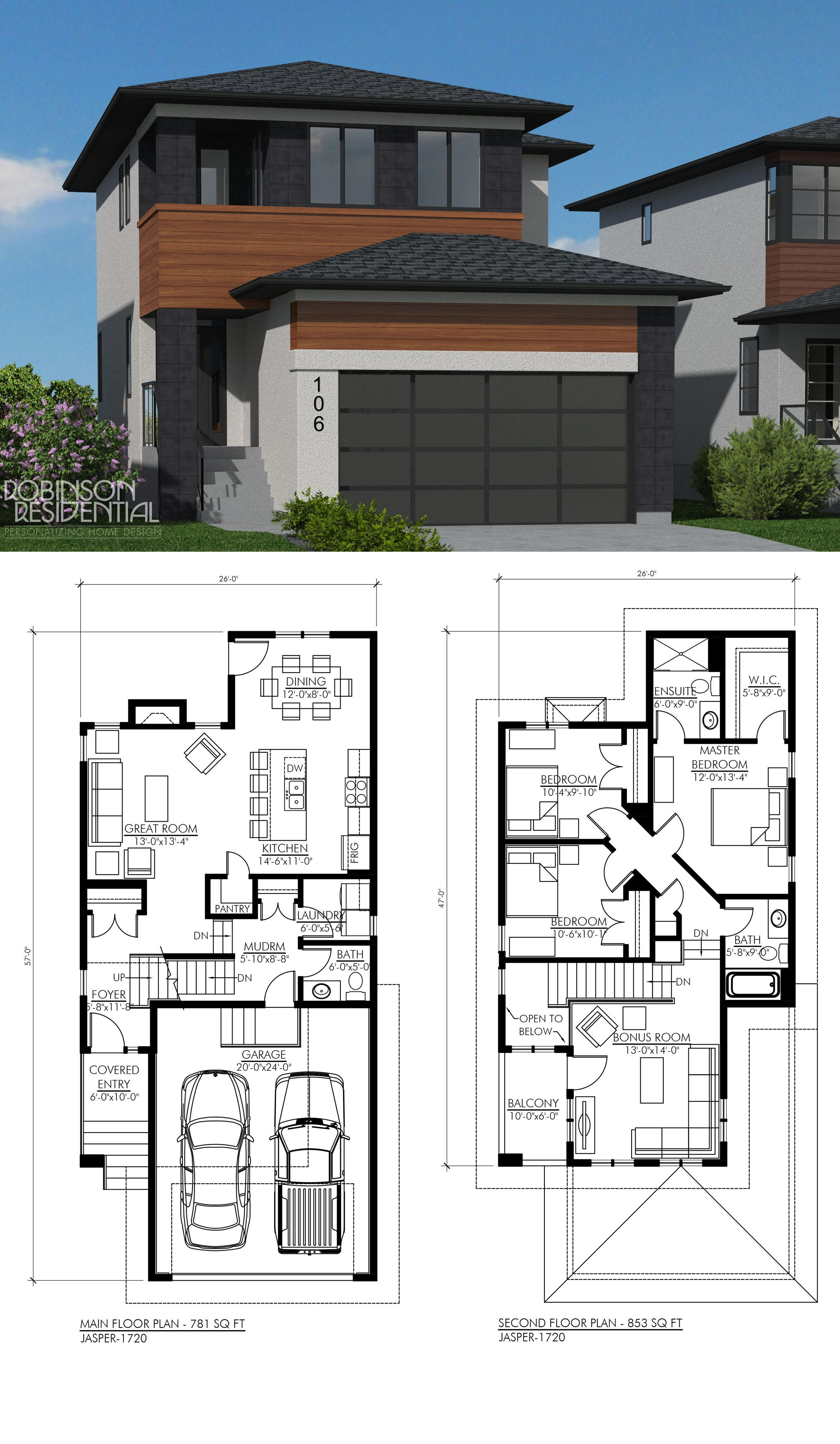 Small House Plans with Garage Luxury Contemporary Jasper 1720