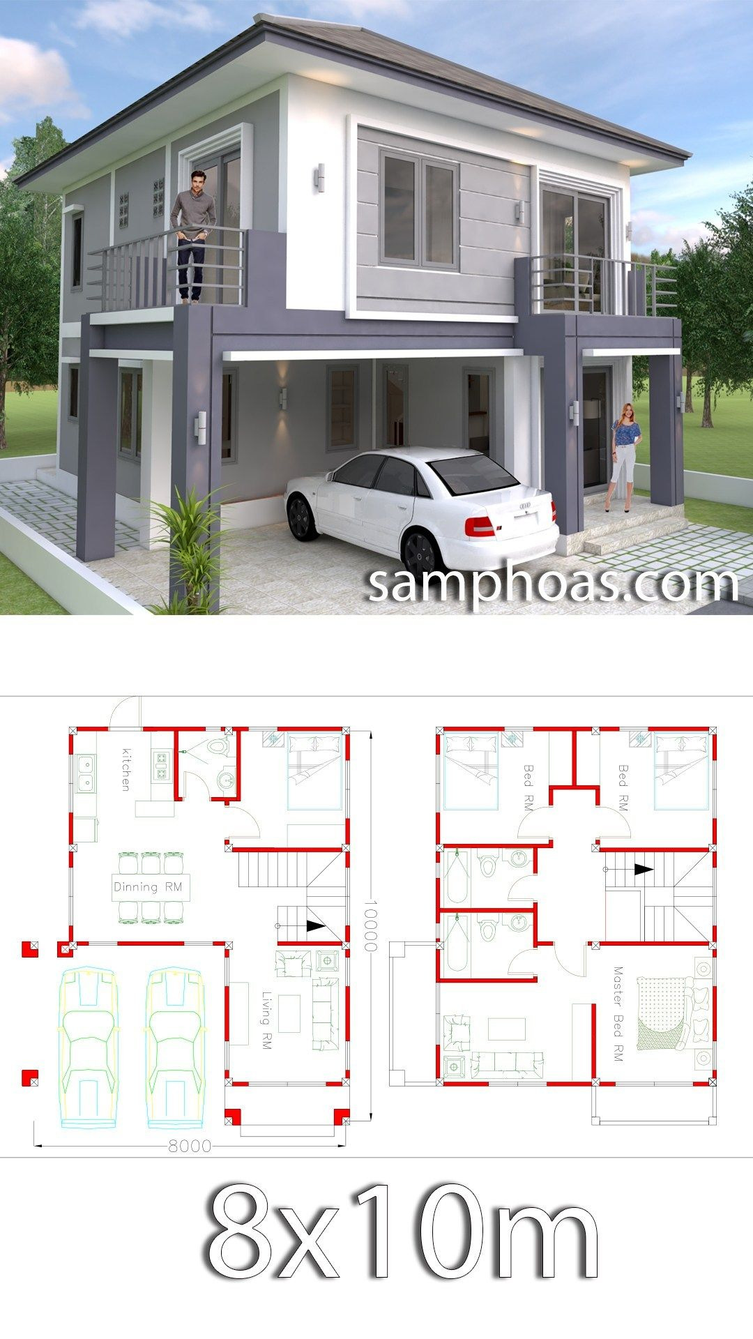Small House Plans with Garage Unique 4 Bedrooms Home Design Plan 8x10m
