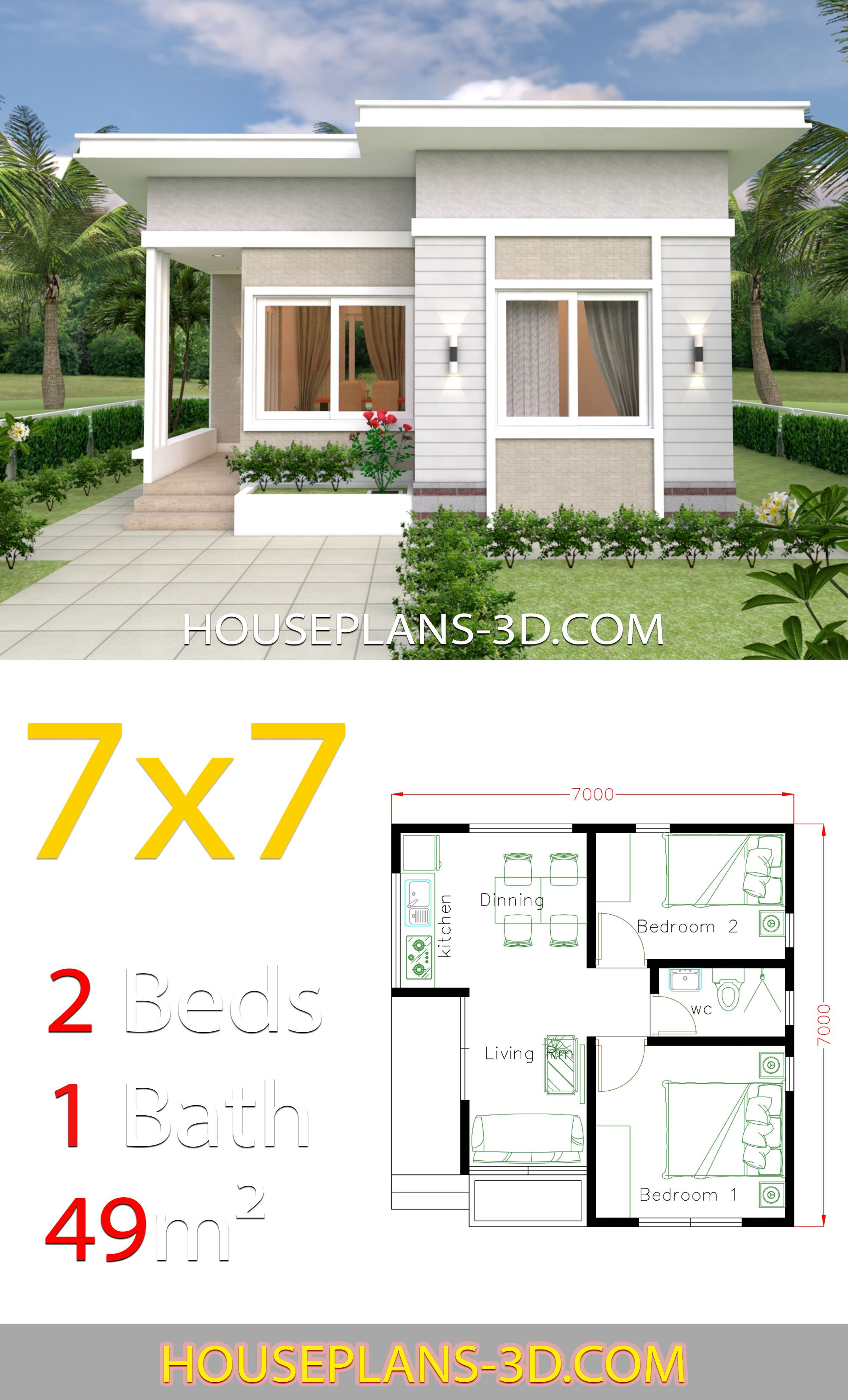 Small House Plans with Pictures Luxury Small House Design 7x7 with 2 Bedrooms Dengan Gambar