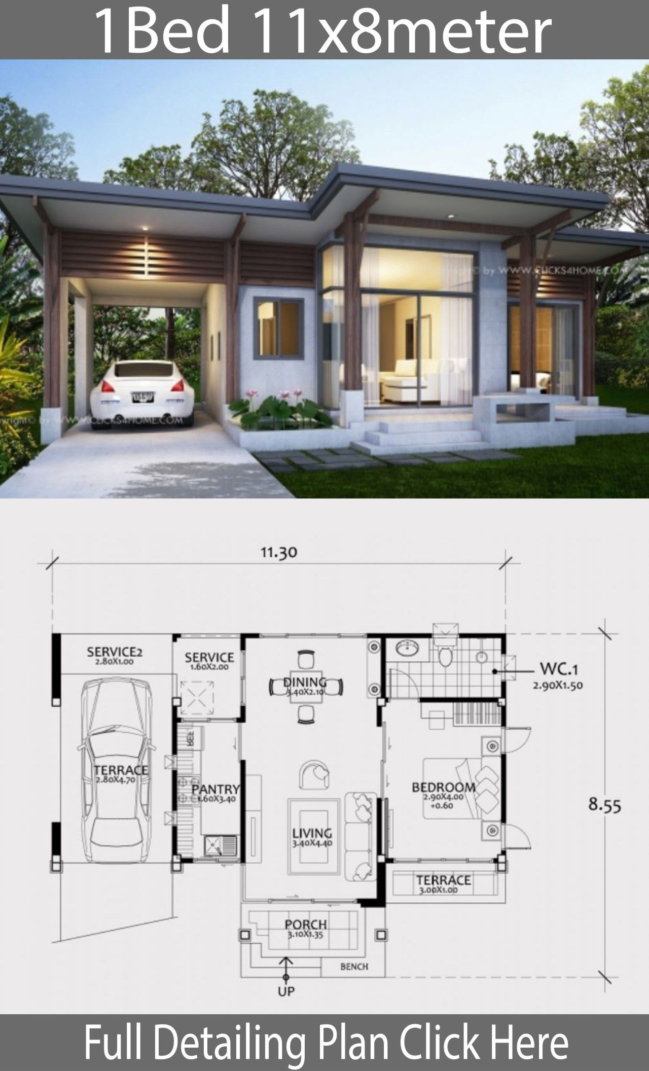 Small Modern House Designs and Floor Plans Inspirational Home Design Plan 11x8m with E Bedroom