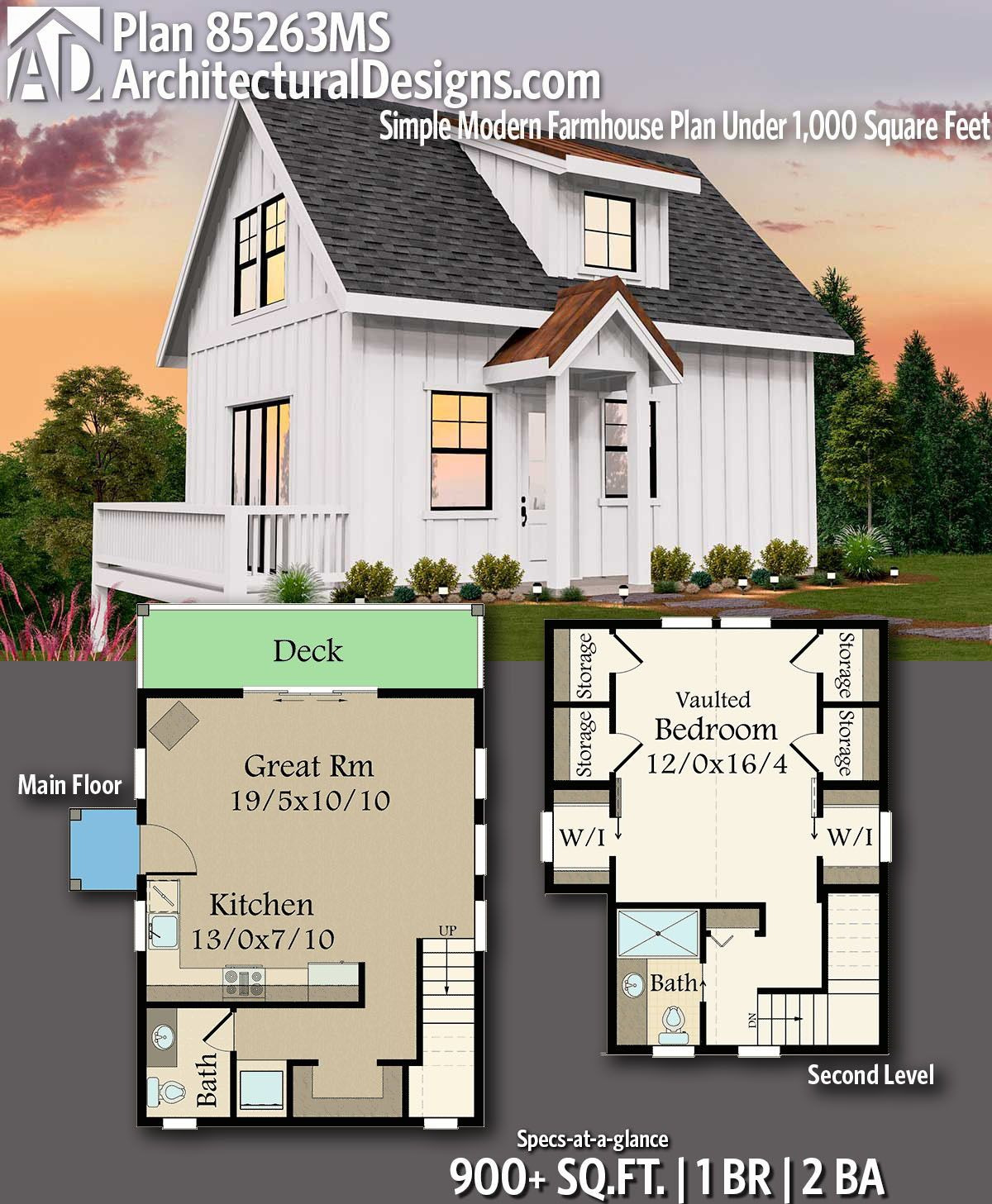 Small Modern House Plans Under 1000 Sq Ft Awesome Plan Ms Simple Modern Farmhouse Plan Under 1 000