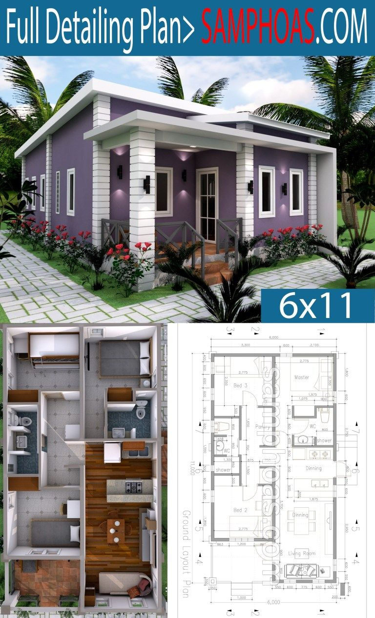 Small Simple House Plans Elegant Low Bud 3 Bedrooms Home Plan 6x11