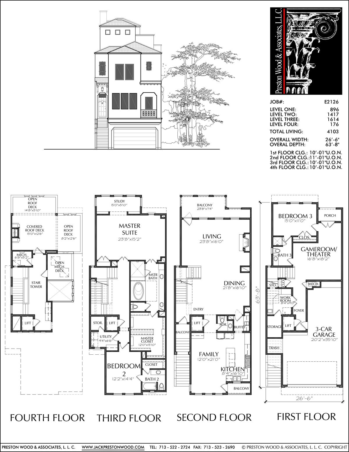 Townhouse Plans Narrow Lot New 3 1 2 Story townhouse Plan E2126 with Images