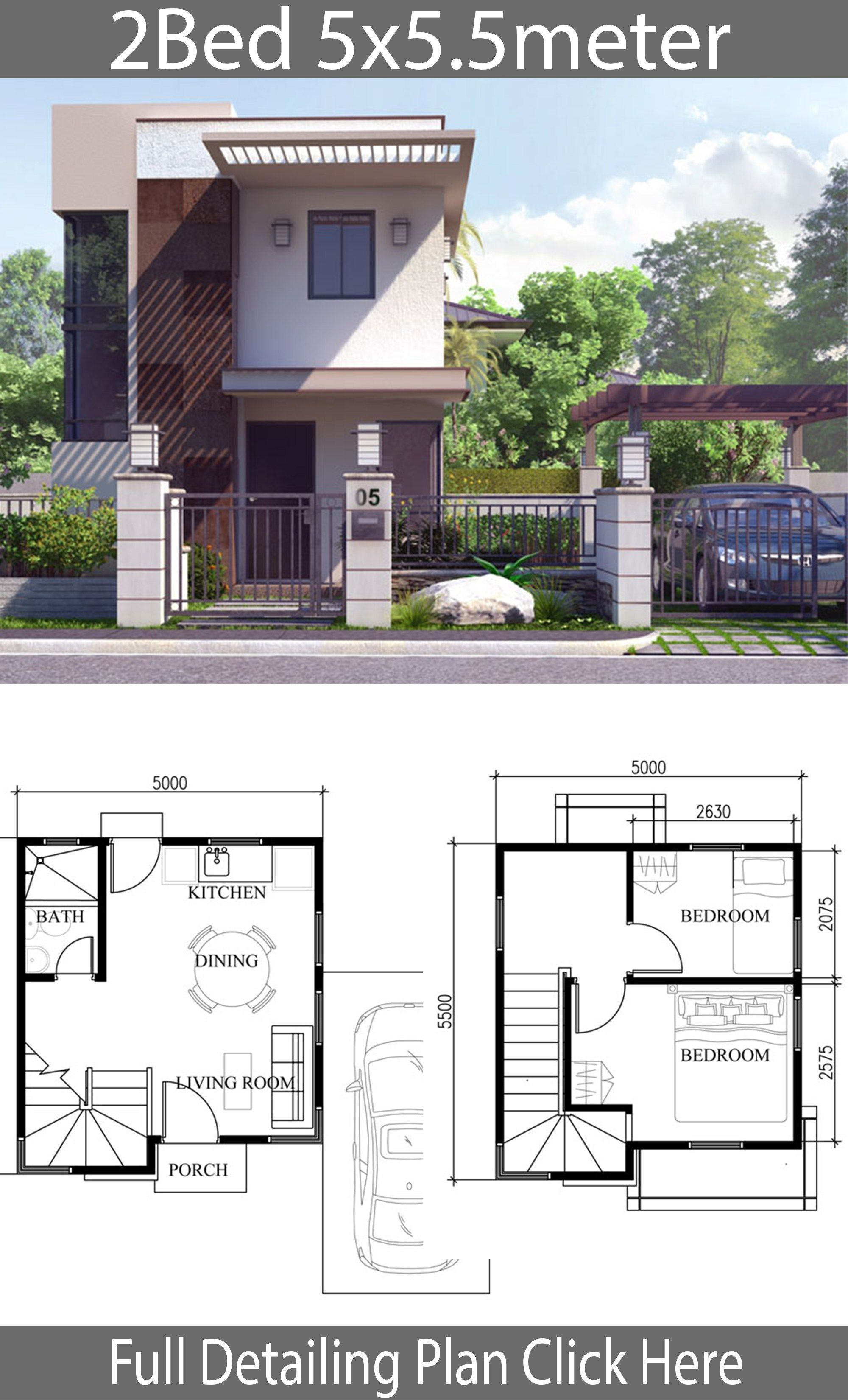 Unique Small House Plans Fresh Small Home Design Plan 5x5 5m with 2 Bedrooms