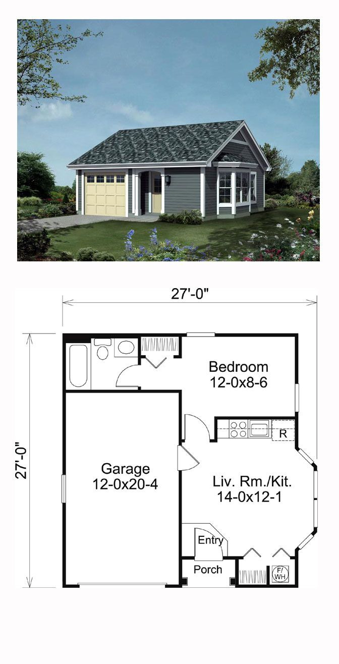 1 Bedroom House Plans with Garage Fresh Traditional Style House Plan with 1 Bed 1 Bath 1 Car