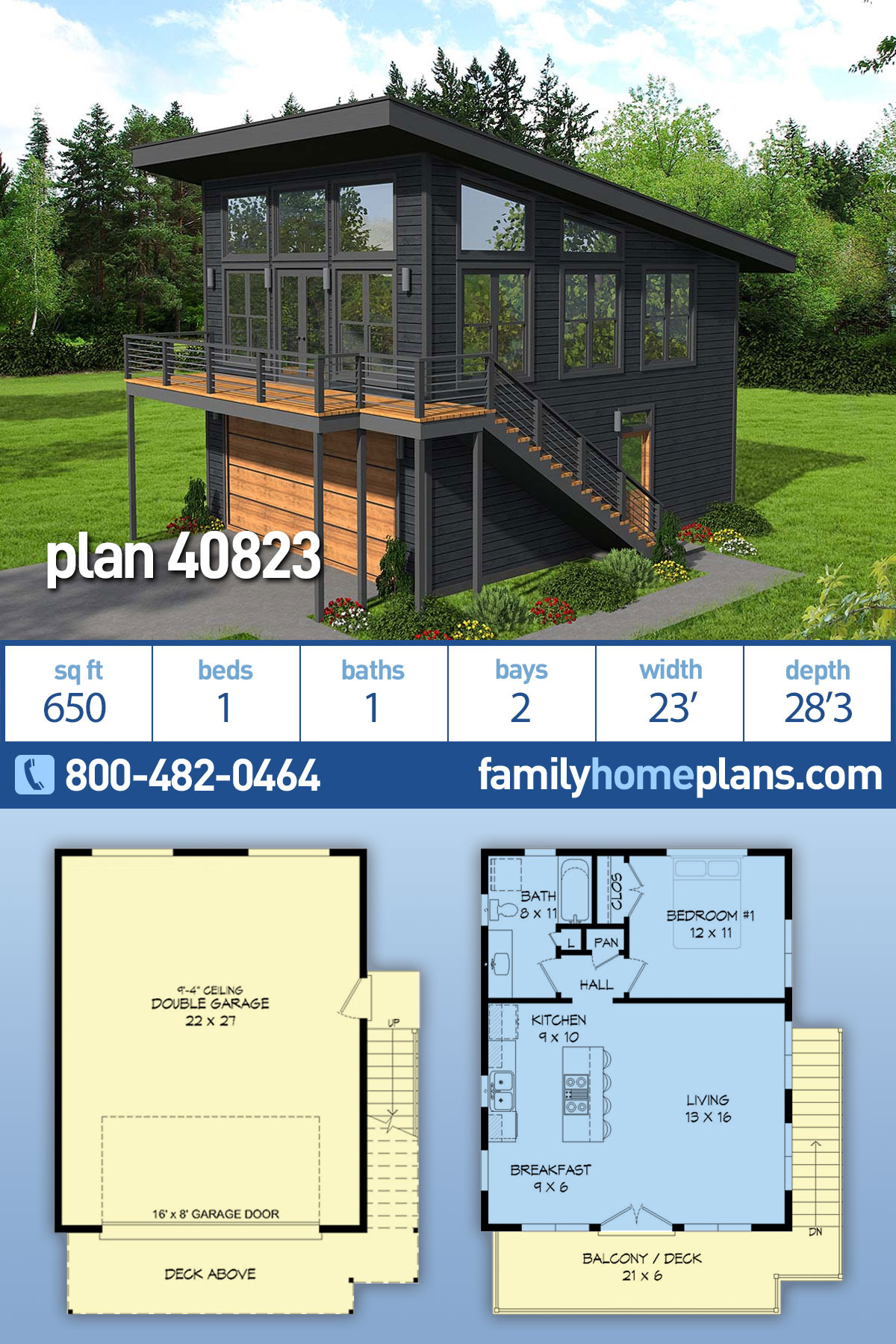 1 Bedroom House Plans with Garage Inspirational Modern Style House Plan with 1 Bed 1 Bath 2 Car Garage