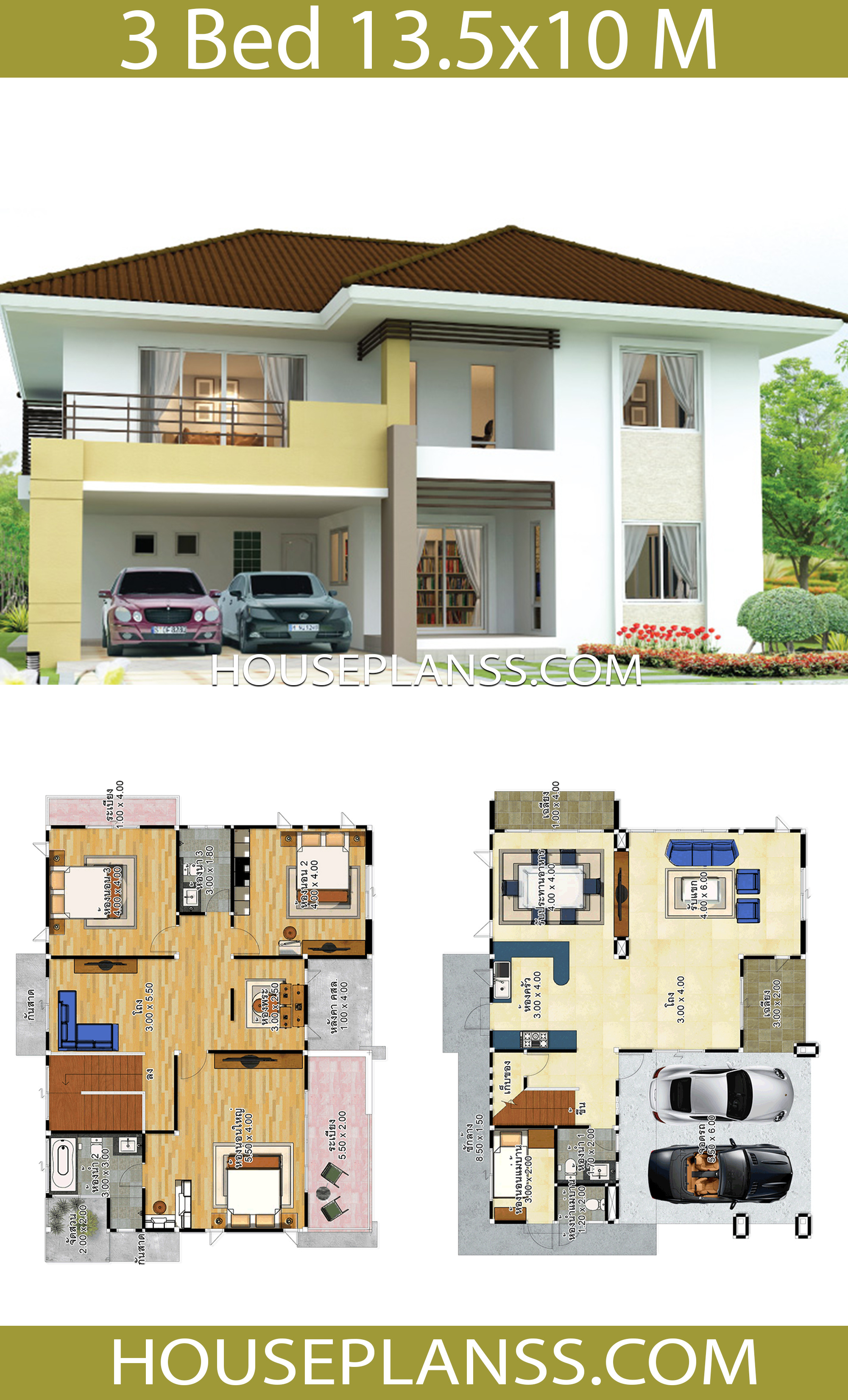 house design idea 13 5x10 with 3 bedrooms