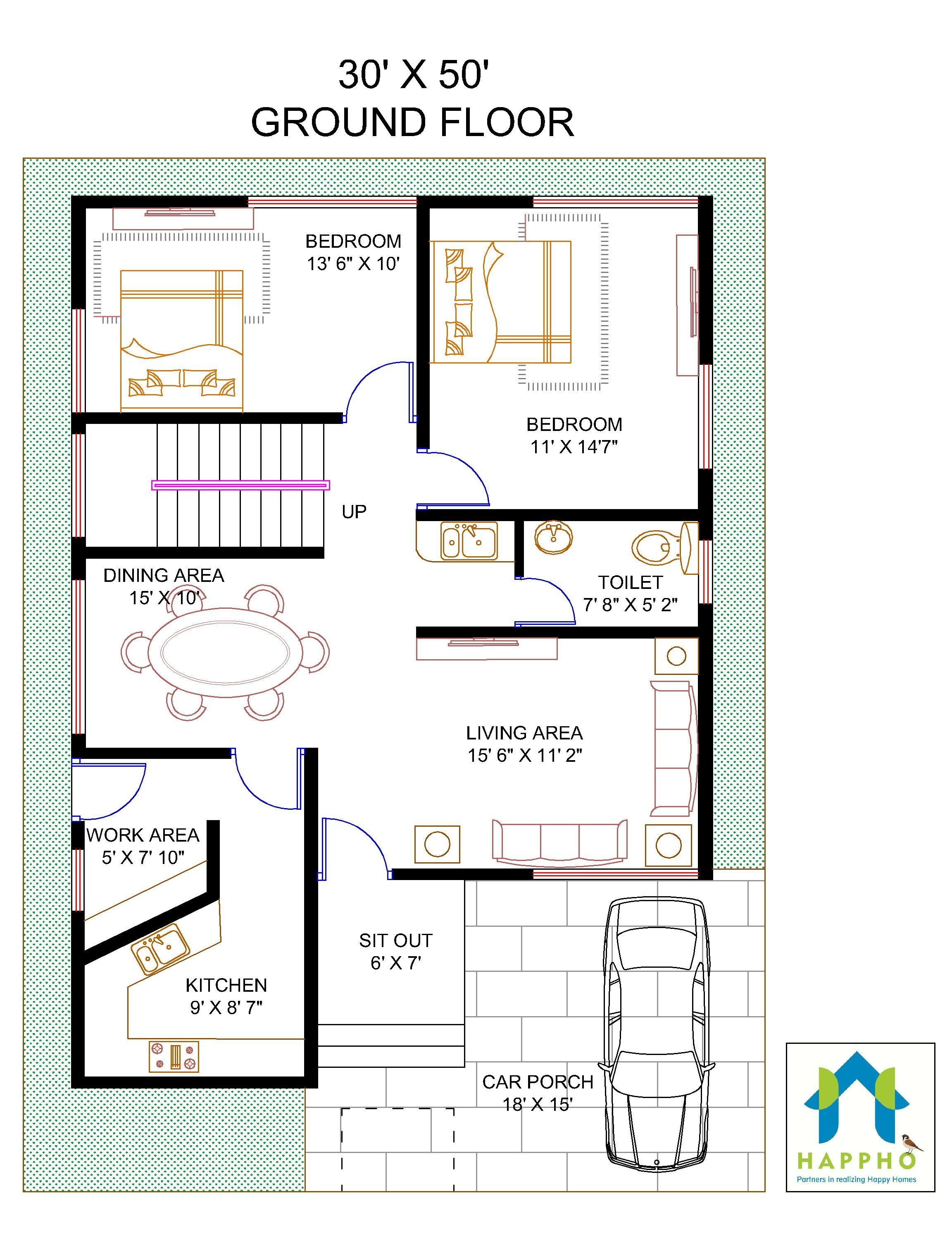 1600 Sq Ft House Cost Beautiful Floor Plan for 30 X 50 Feet Plot