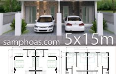 2 Bedroom Townhouse Designs Elegant Home Design Plan 5x15m Duplex House With 3 Bedrooms Front