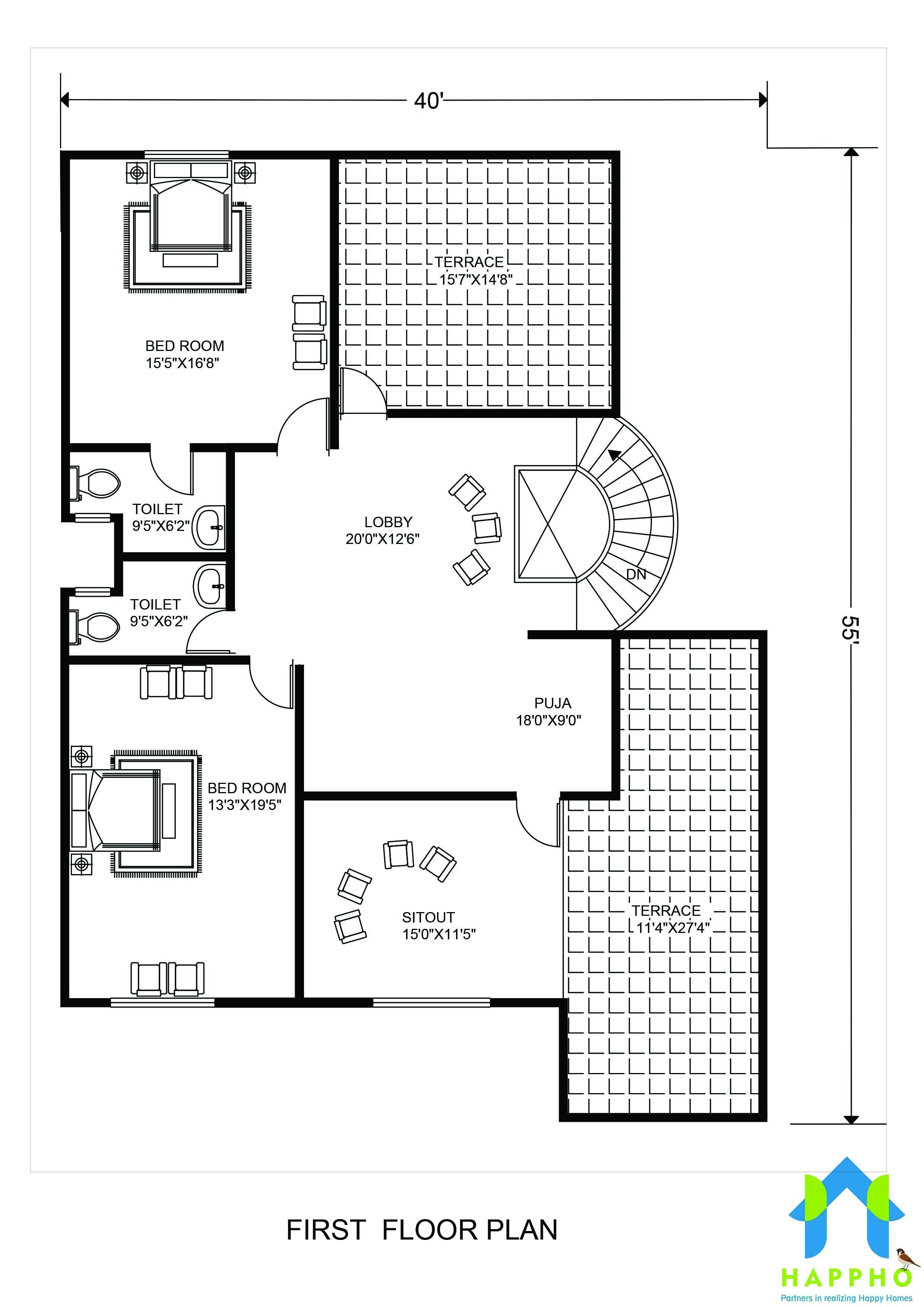 4 bhk floor plan 40 x 55 feet plot 2200 square feet
