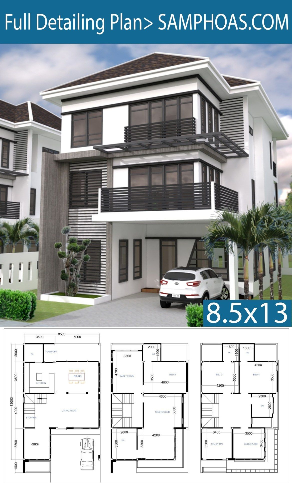 6 Bedroom Modern House Inspirational 6 Bedrooms House Plan 8 5x13m