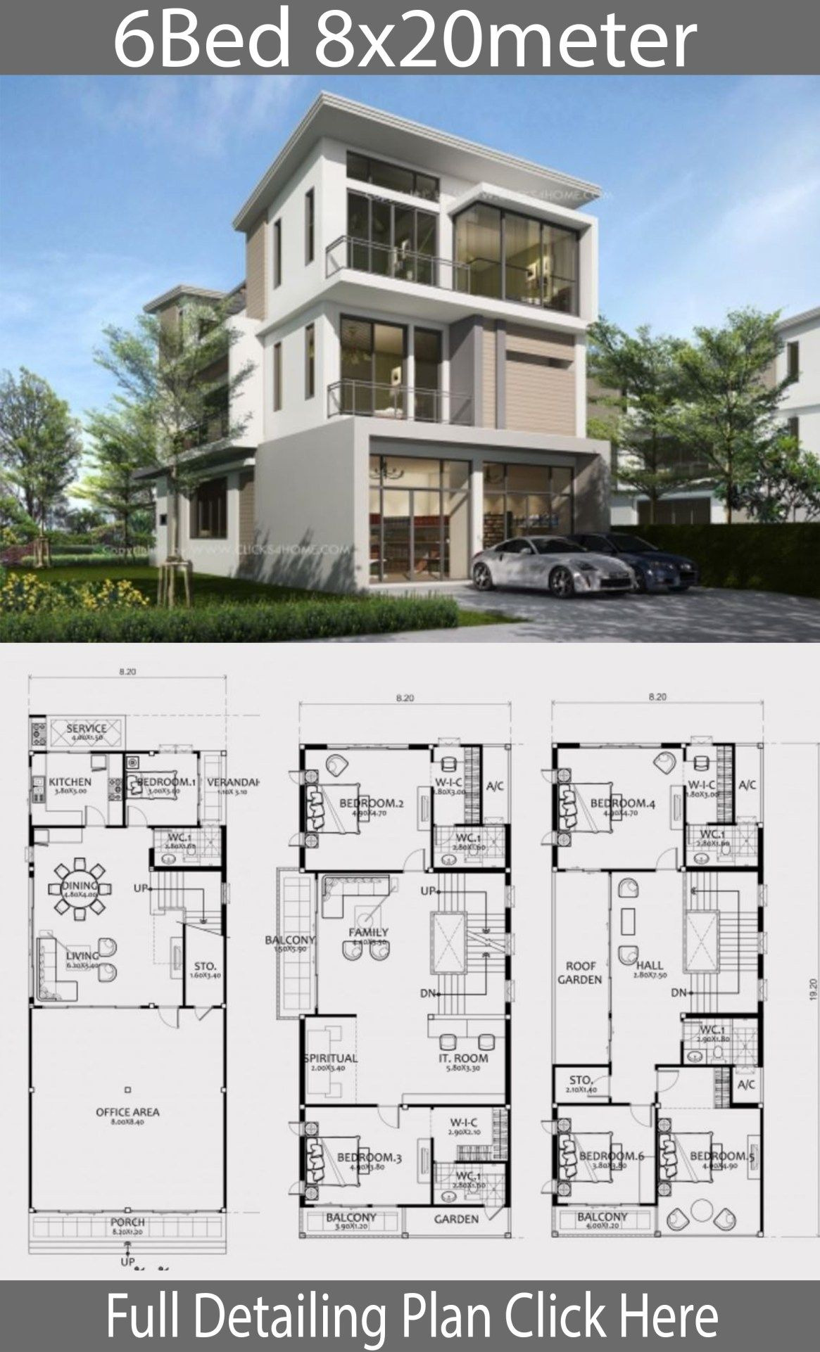 6 Bedroom Modern House New Home Design Plan 8x20m with 6 Bedrooms In 2020 with Images