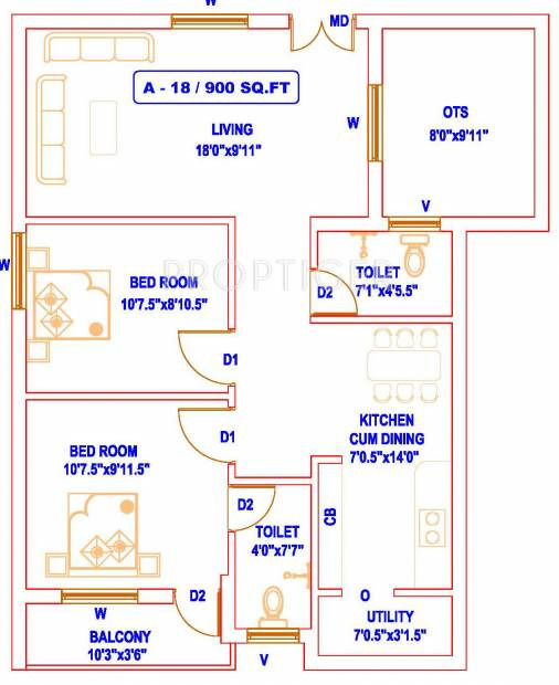 850 Sq Ft House Design Awesome 100 [ 2bhk House Plans ]