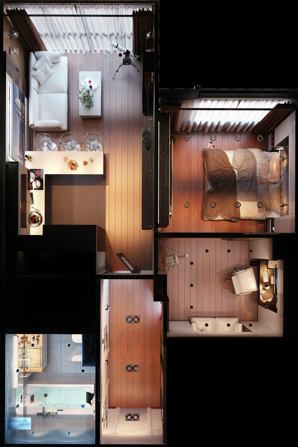 3 distinctly themed apartments under 800 square feet 75 square meter with floor plans
